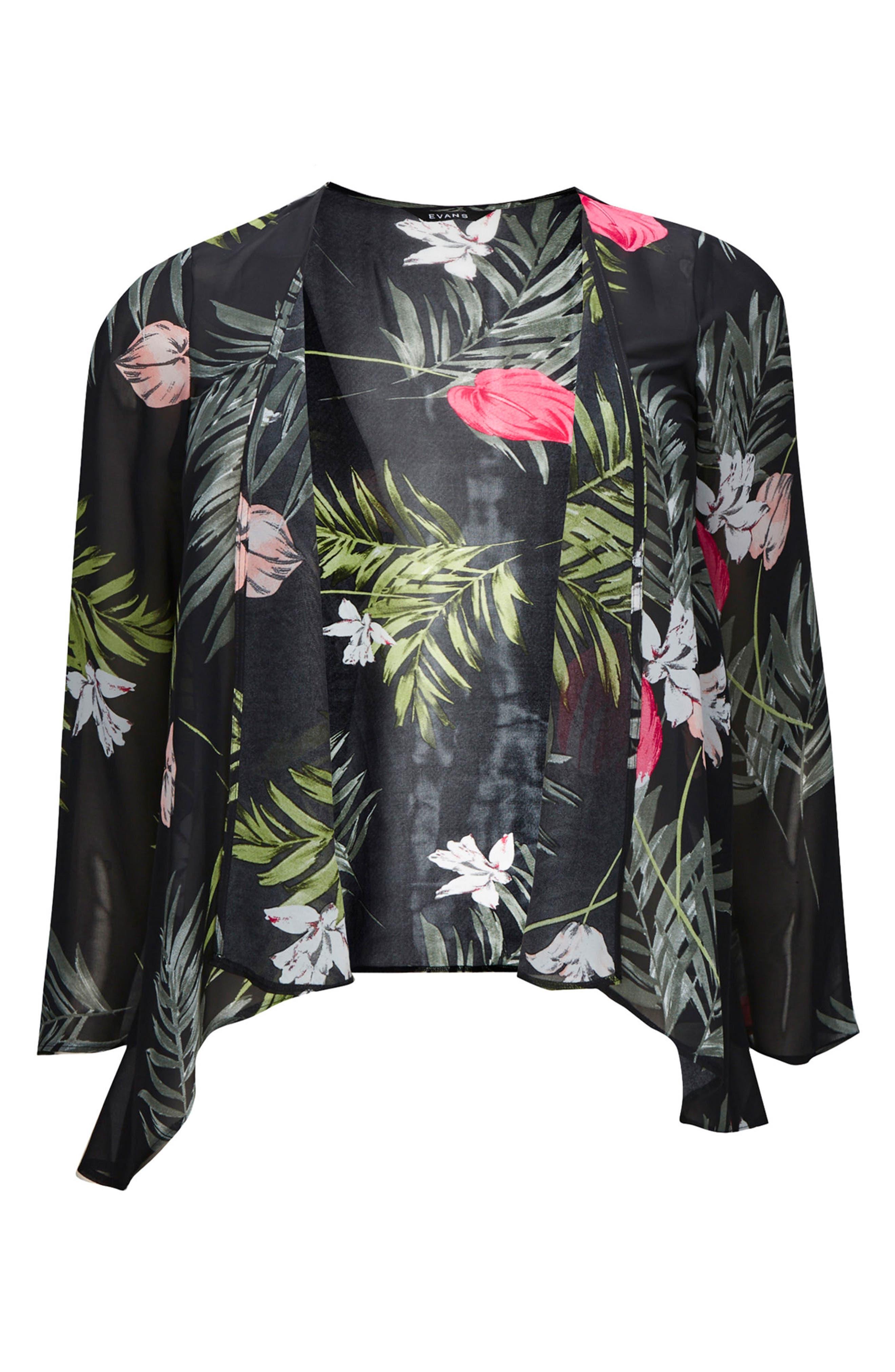Floral Kimono Jacket,                             Main thumbnail 1, color,                             Multi Dark