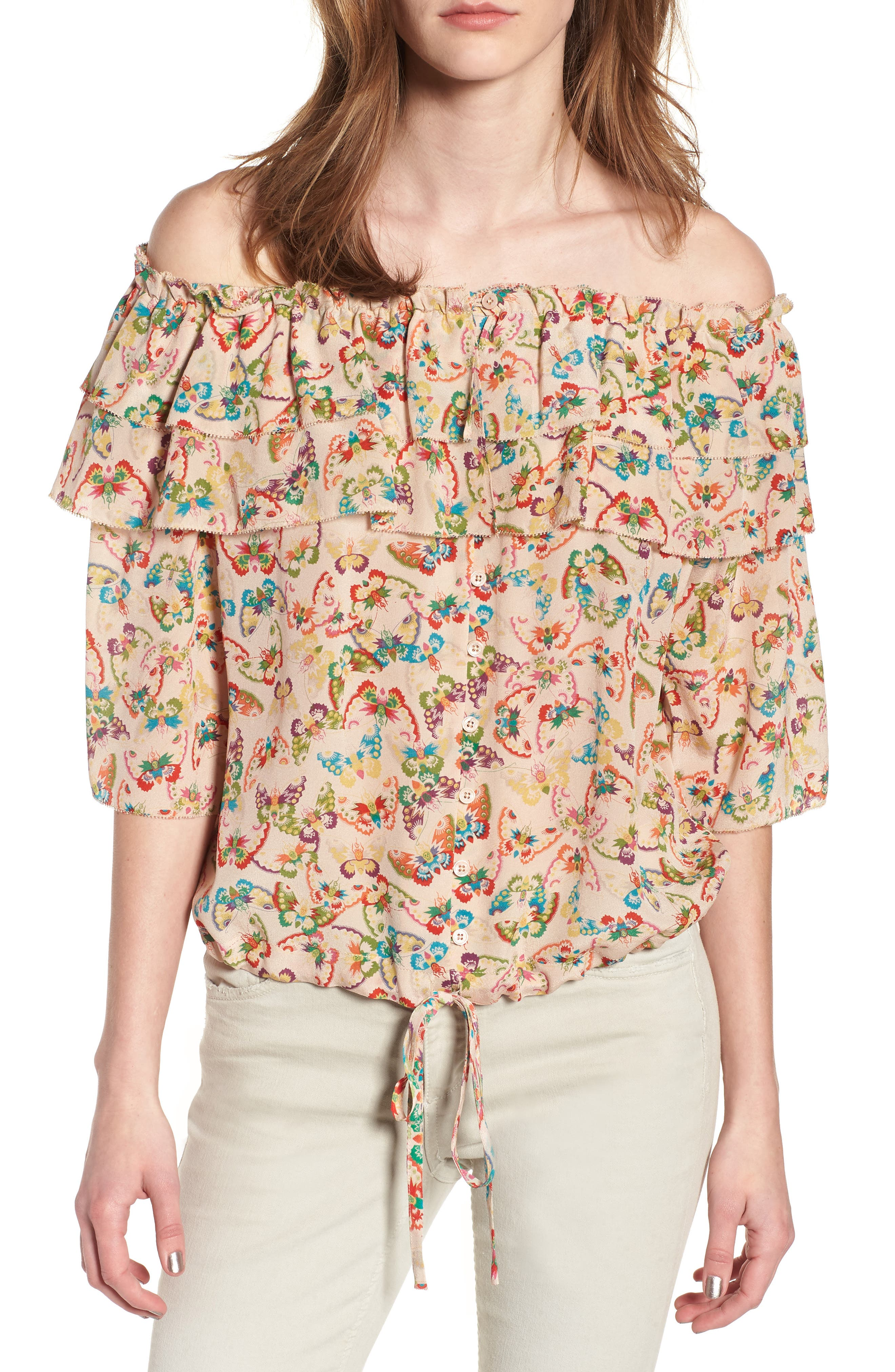 Tease Butterfly Off the Shoulder Silk Top,                             Main thumbnail 1, color,                             Ecru