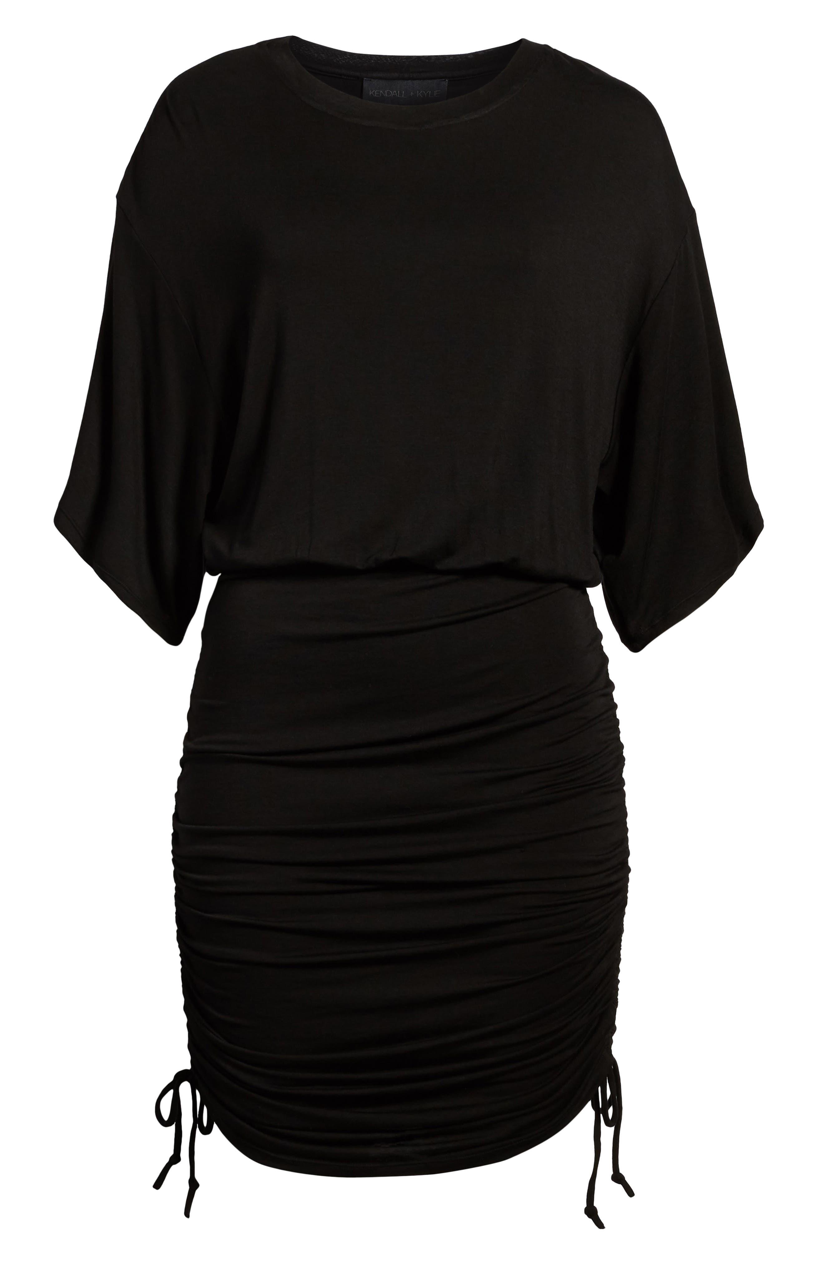 Short Sleeve Ruched Dress,                             Alternate thumbnail 7, color,                             Black