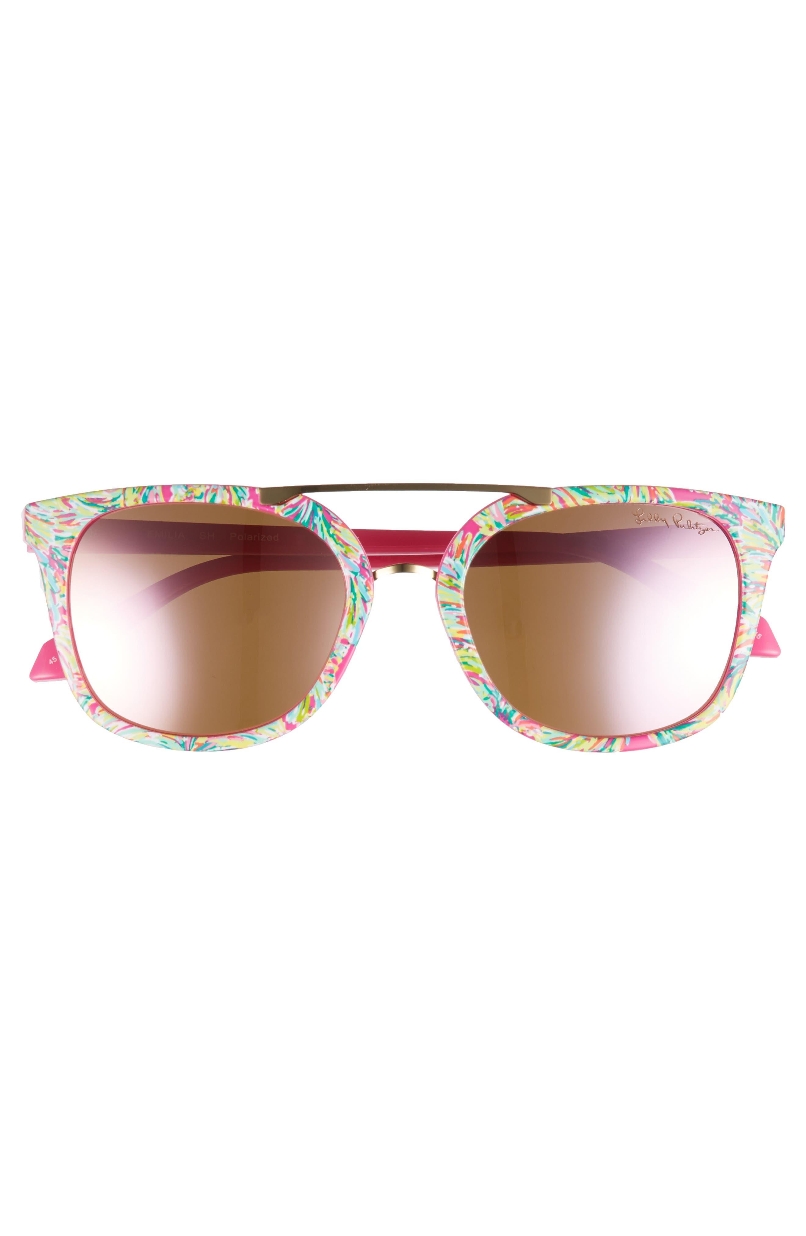 Lilly Pulitzer Emilia 53mm Polarized Sunglasses,                             Alternate thumbnail 3, color,                             Shady Lady/ Pink