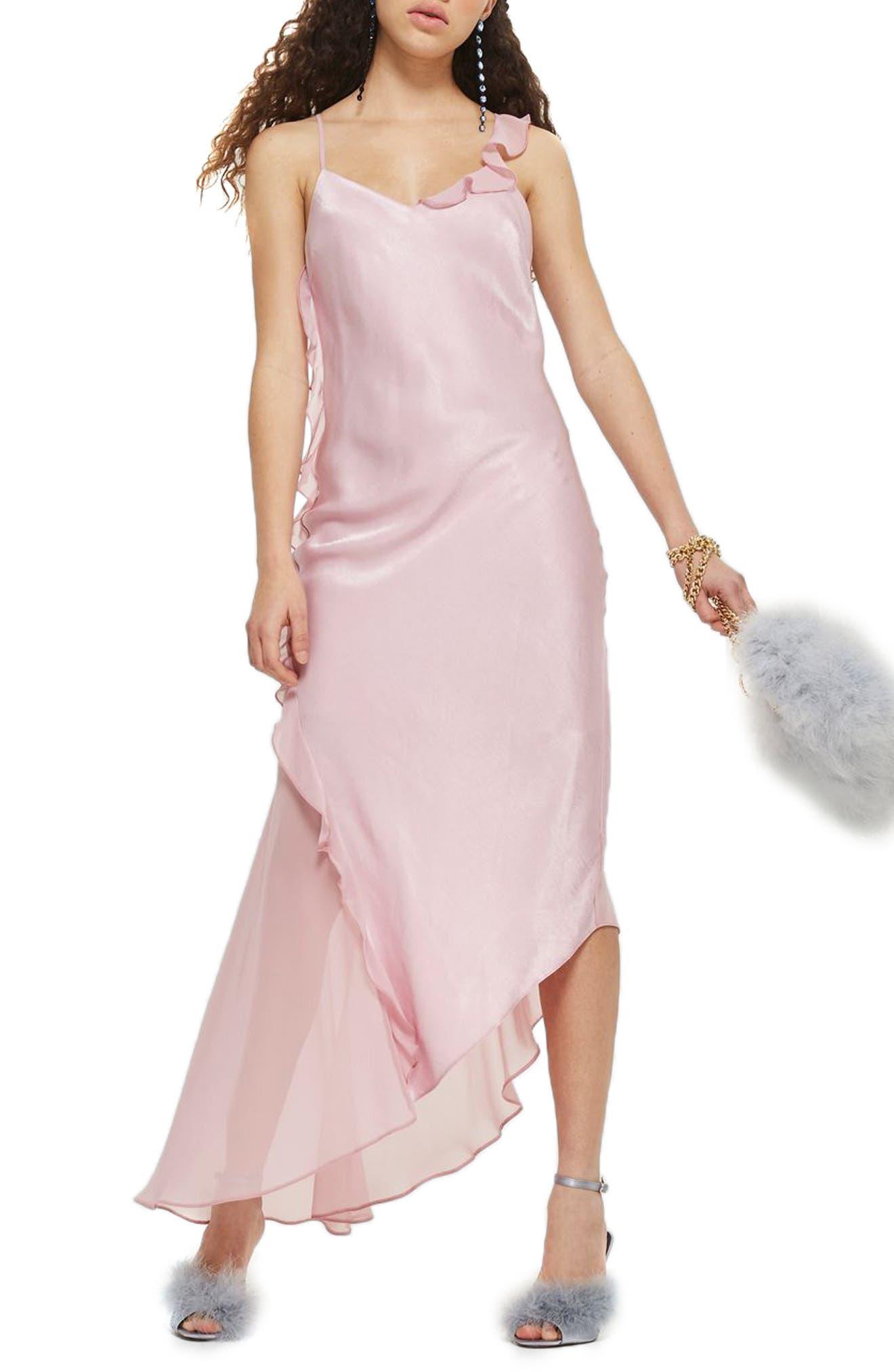 Topshop Asymmetrical Frill Maxi Dress
