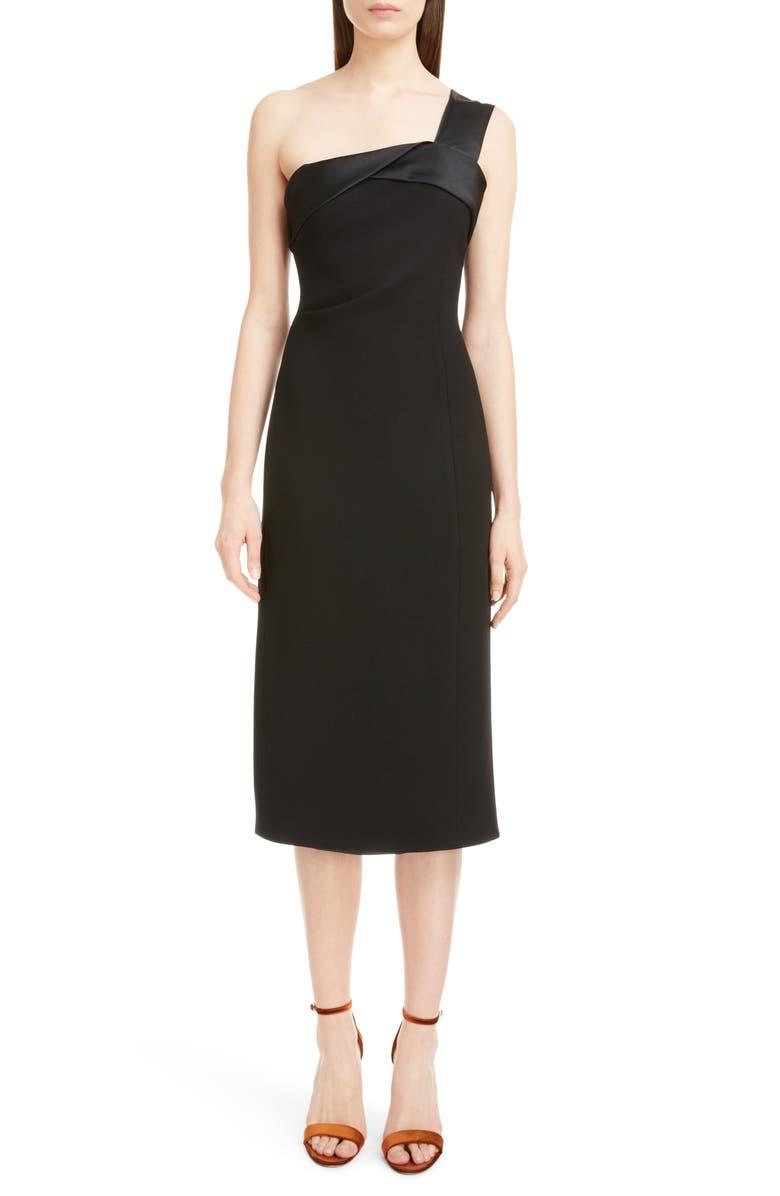 Satin Strap One-Shoulder Dress