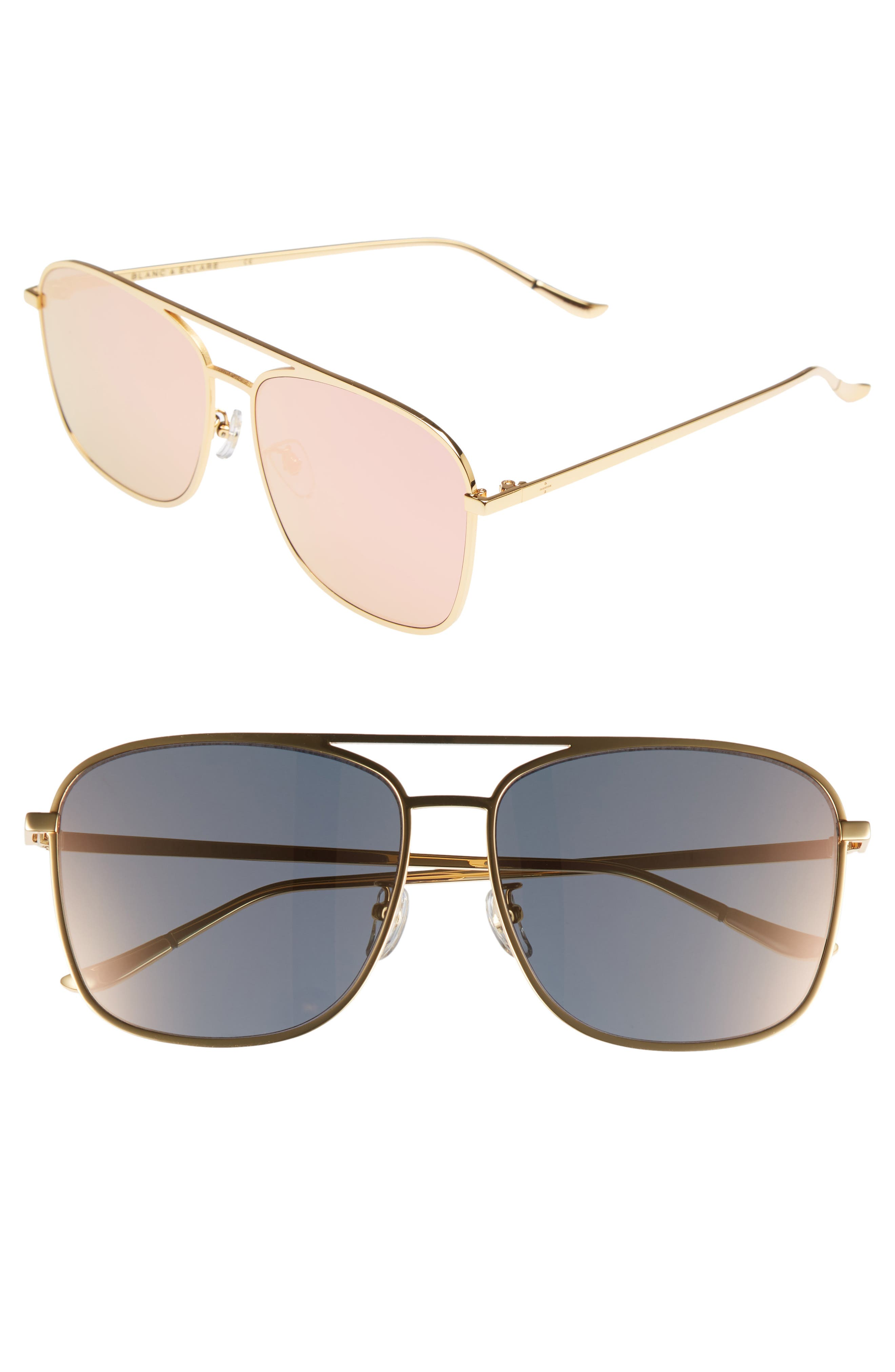 BLANC & ECLARE Geneva 61mm Large Polarized Metal Aviator Sunglasses,                         Main,                         color, Gold/ Pink