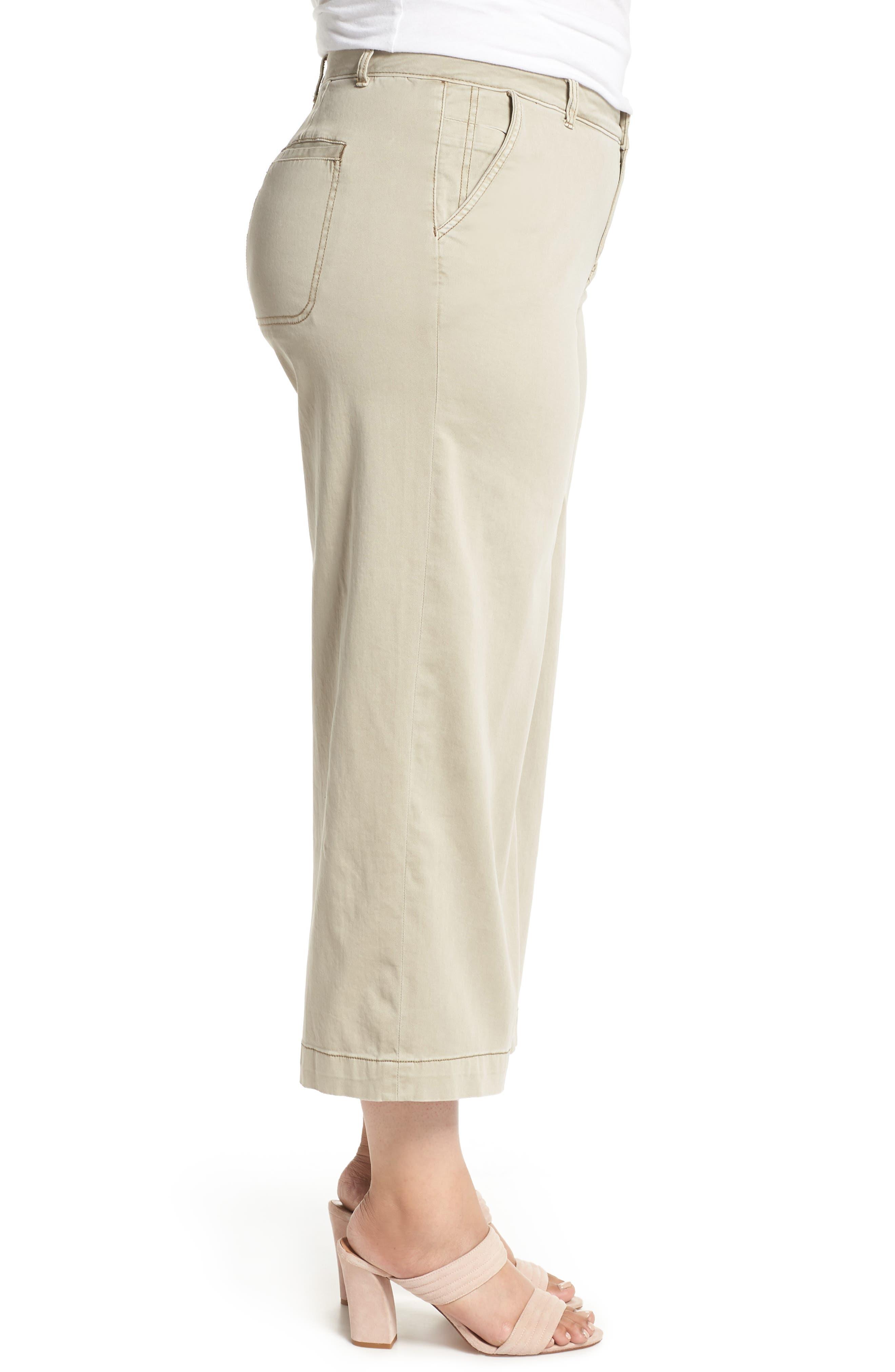 Wide Leg Stretch Cotton Twill Crop Pants,                             Alternate thumbnail 3, color,                             Tan Cobblestone