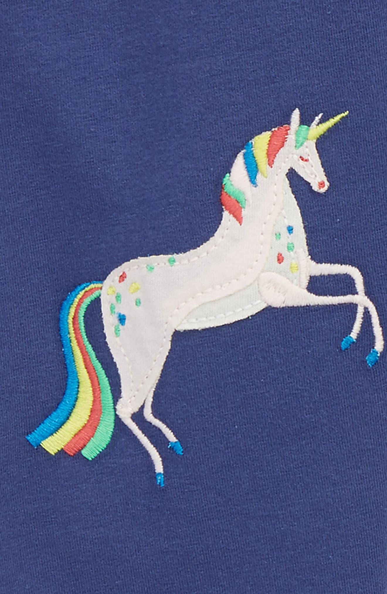 Appliqué Leggings,                             Alternate thumbnail 2, color,                             Navstarboard Blue Unicorns