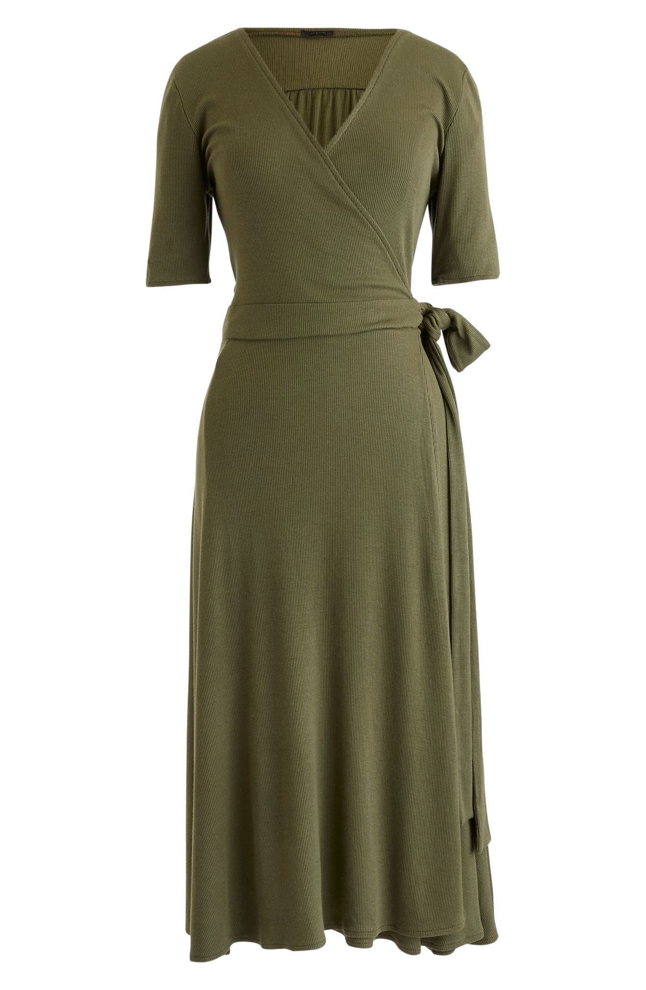 J.Crew Knit Wrap Dress,                             Main thumbnail 1, color,                             Frosty Olive