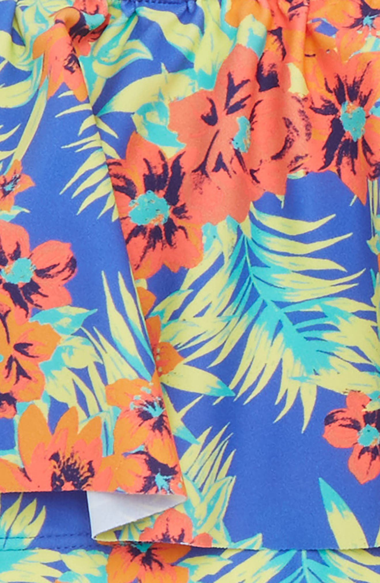 Floral Ruffle Two-Piece Swimsuit,                             Alternate thumbnail 2, color,                             Blue Amparo Tropical Floral