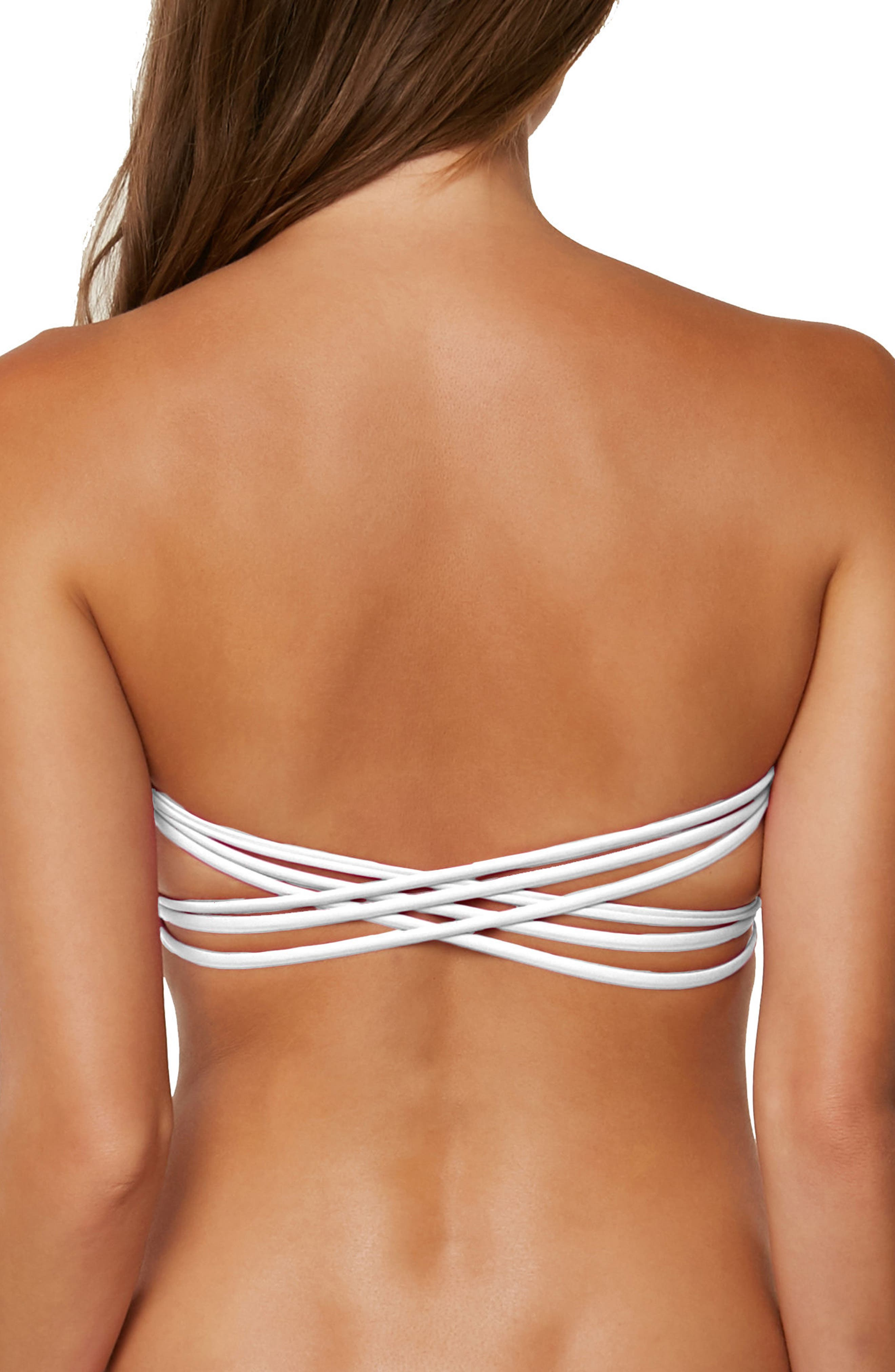 Salt Water Solids Bandeau Bikini Top,                             Alternate thumbnail 2, color,                             White
