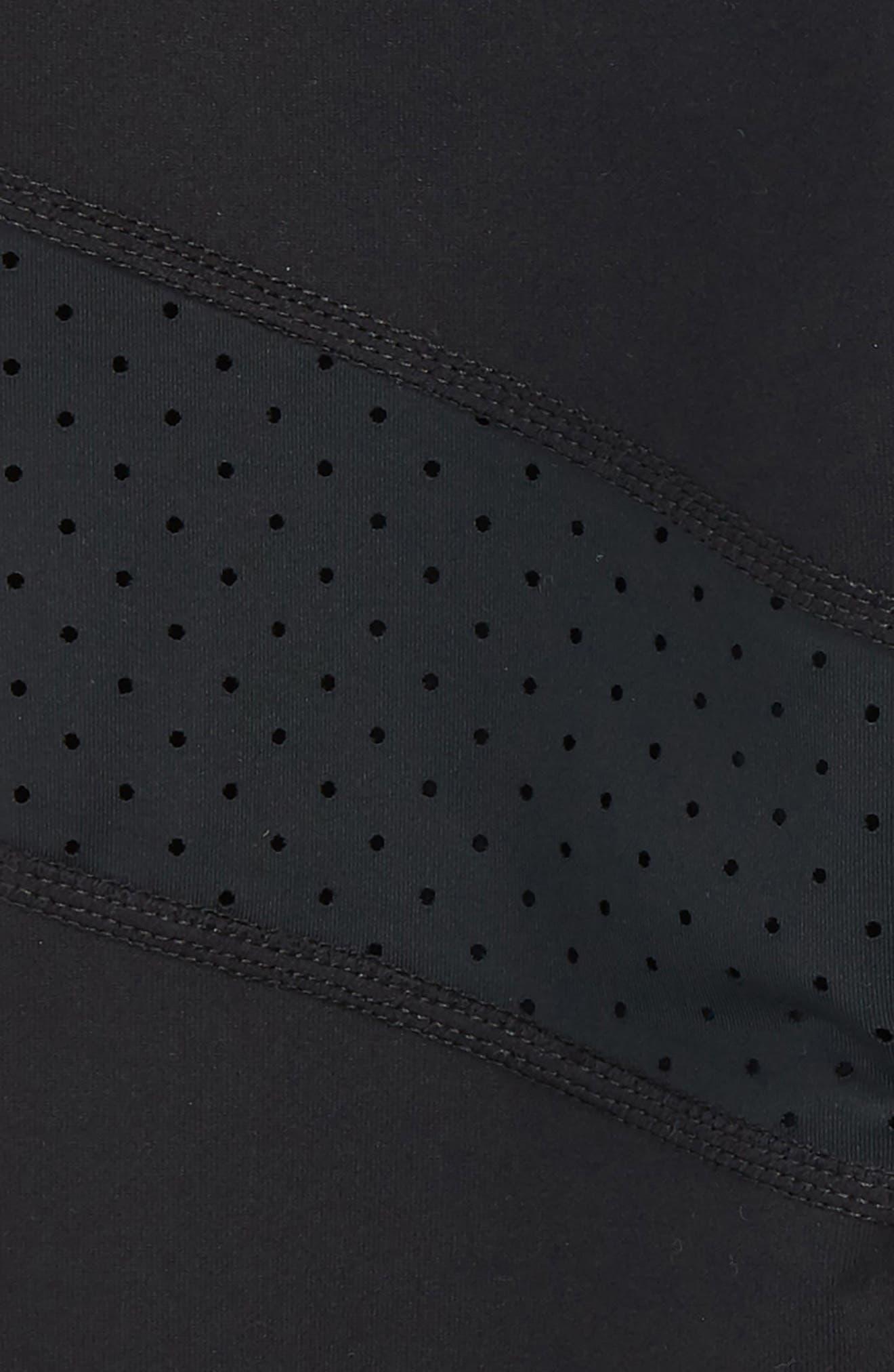 Perforated Trim Crop Leggings,                             Alternate thumbnail 2, color,                             Black