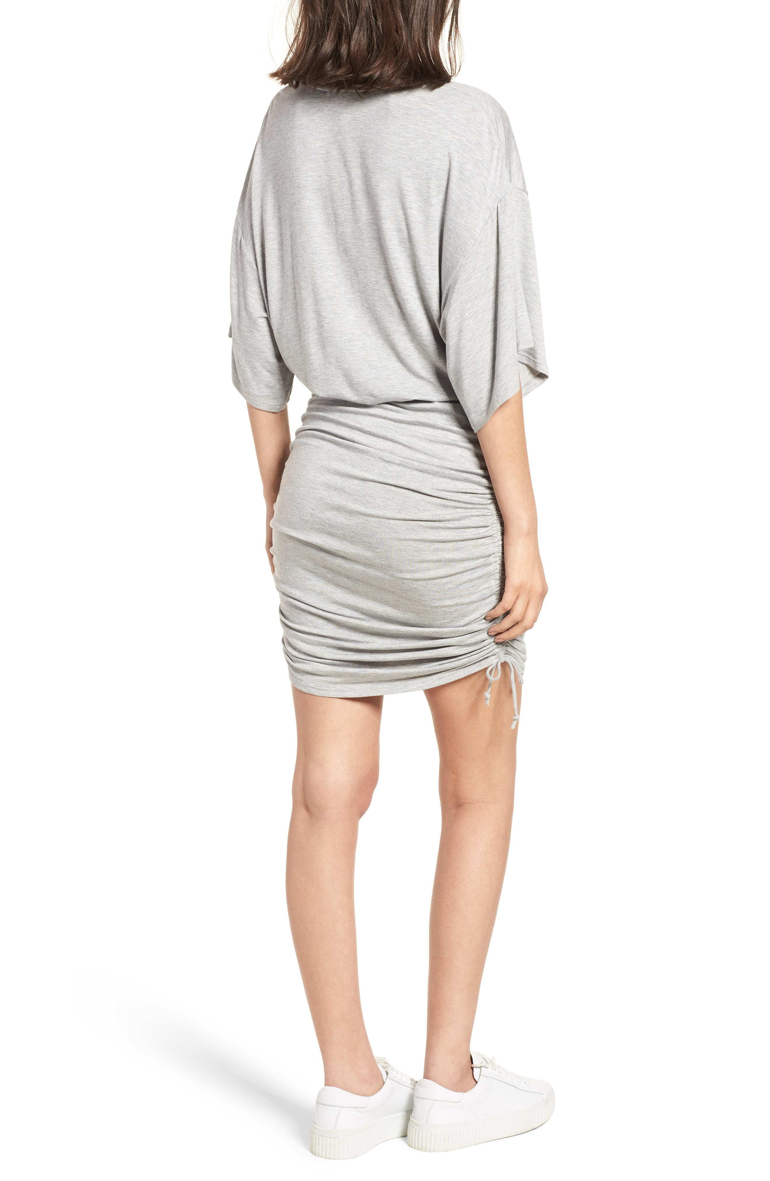 Short Sleeve Ruched Dress,                             Alternate thumbnail 2, color,                             Heather Grey