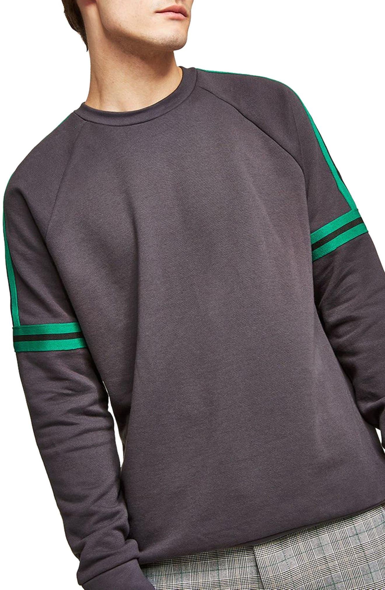 Tape Crewneck Sweatshirt,                         Main,                         color, Grey Multi