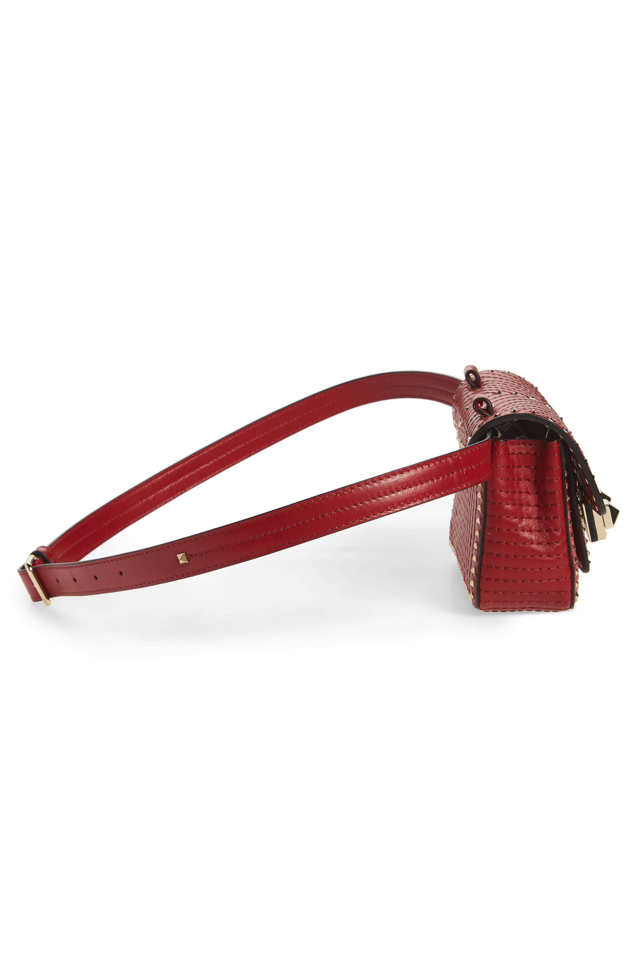 Mini Ziggystud Leather Convertible Crossbody/Belt Bag,                             Alternate thumbnail 7, color,                             Rosso