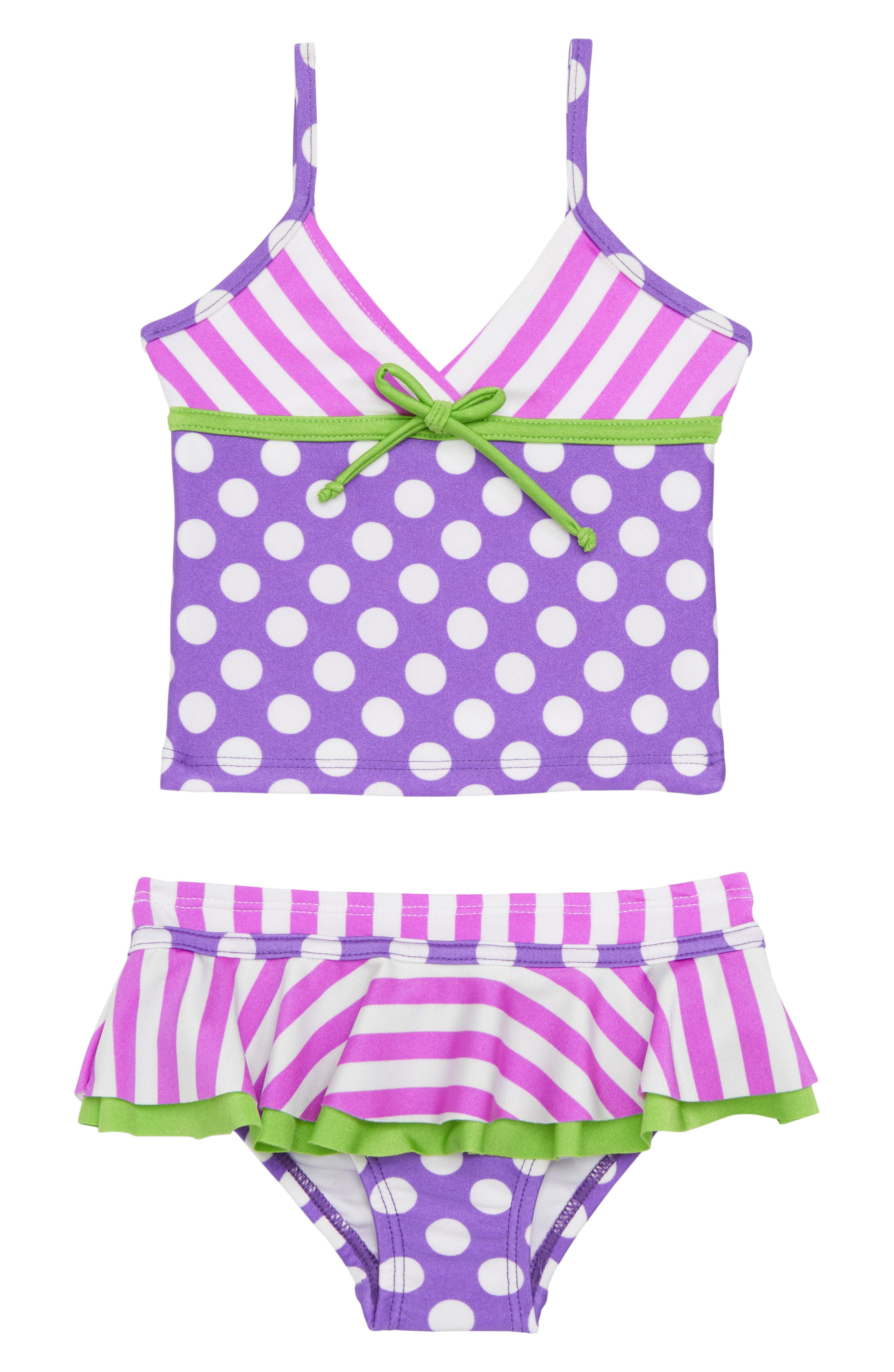 Ruffle Two-Piece Swimsuit,                             Main thumbnail 1, color,                             Berry Stripe
