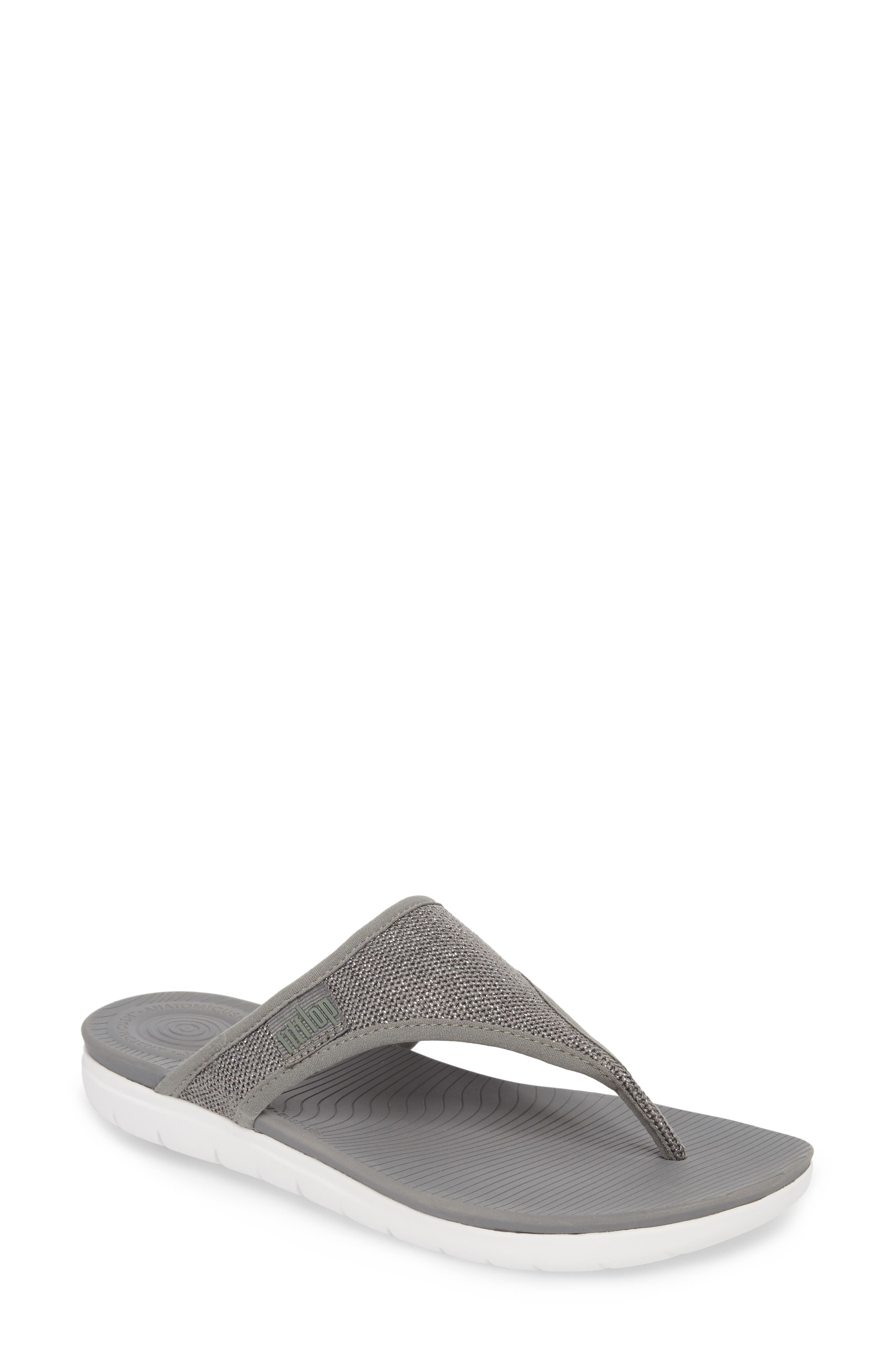 Überknit Flip Flop,                             Main thumbnail 1, color,                             Charcoal Grey/ Pewter Leather