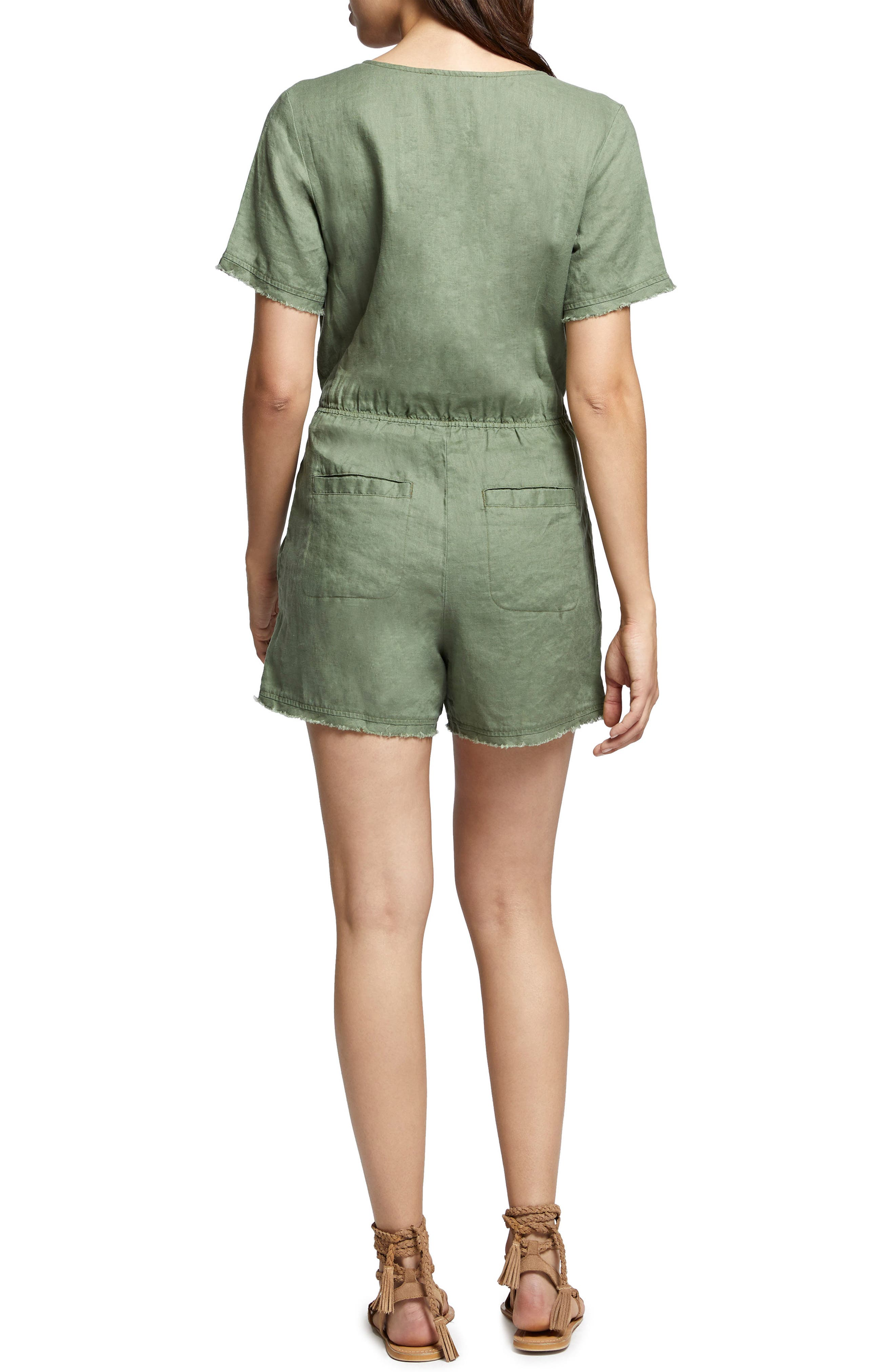 Date Palm Linen Romper,                             Alternate thumbnail 2, color,                             Cadet