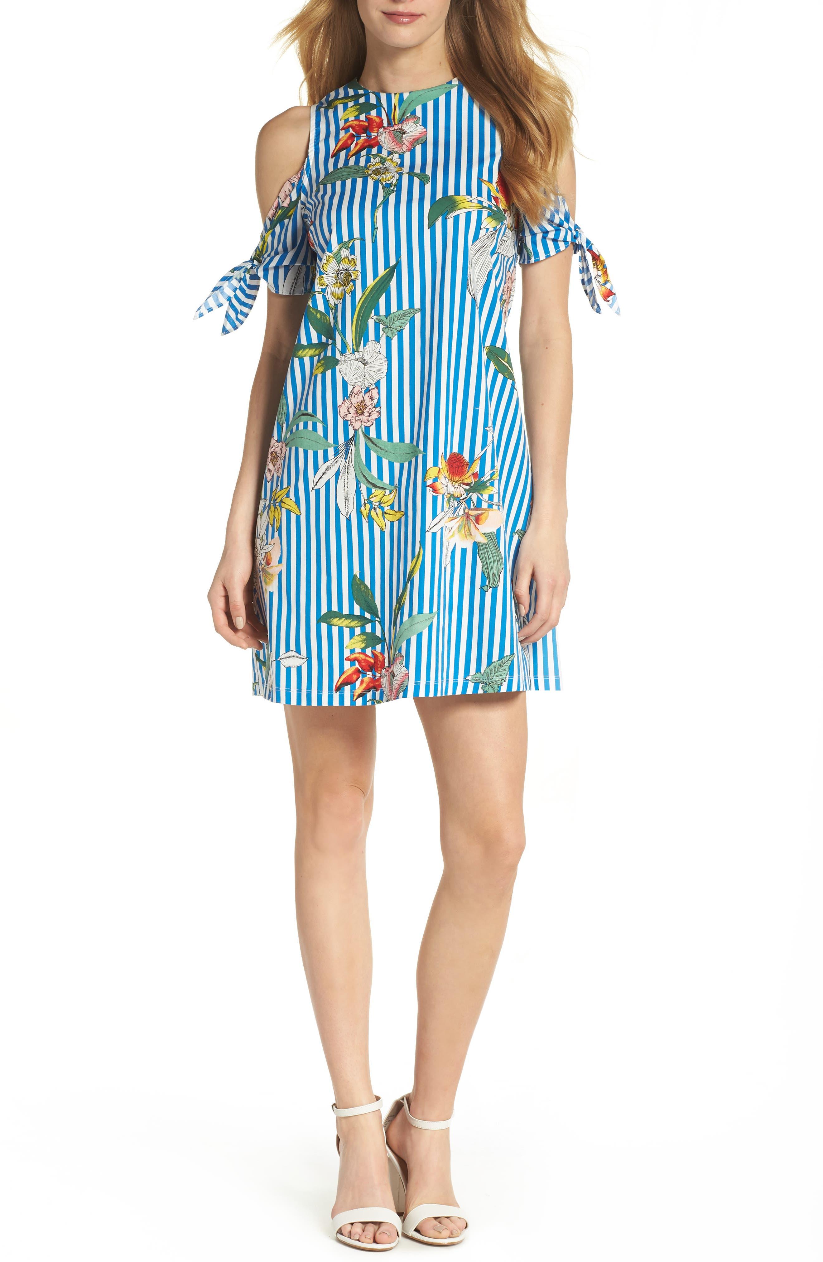 Cold Shoulder Shift Dress,                             Main thumbnail 1, color,                             Blue/ Ivory