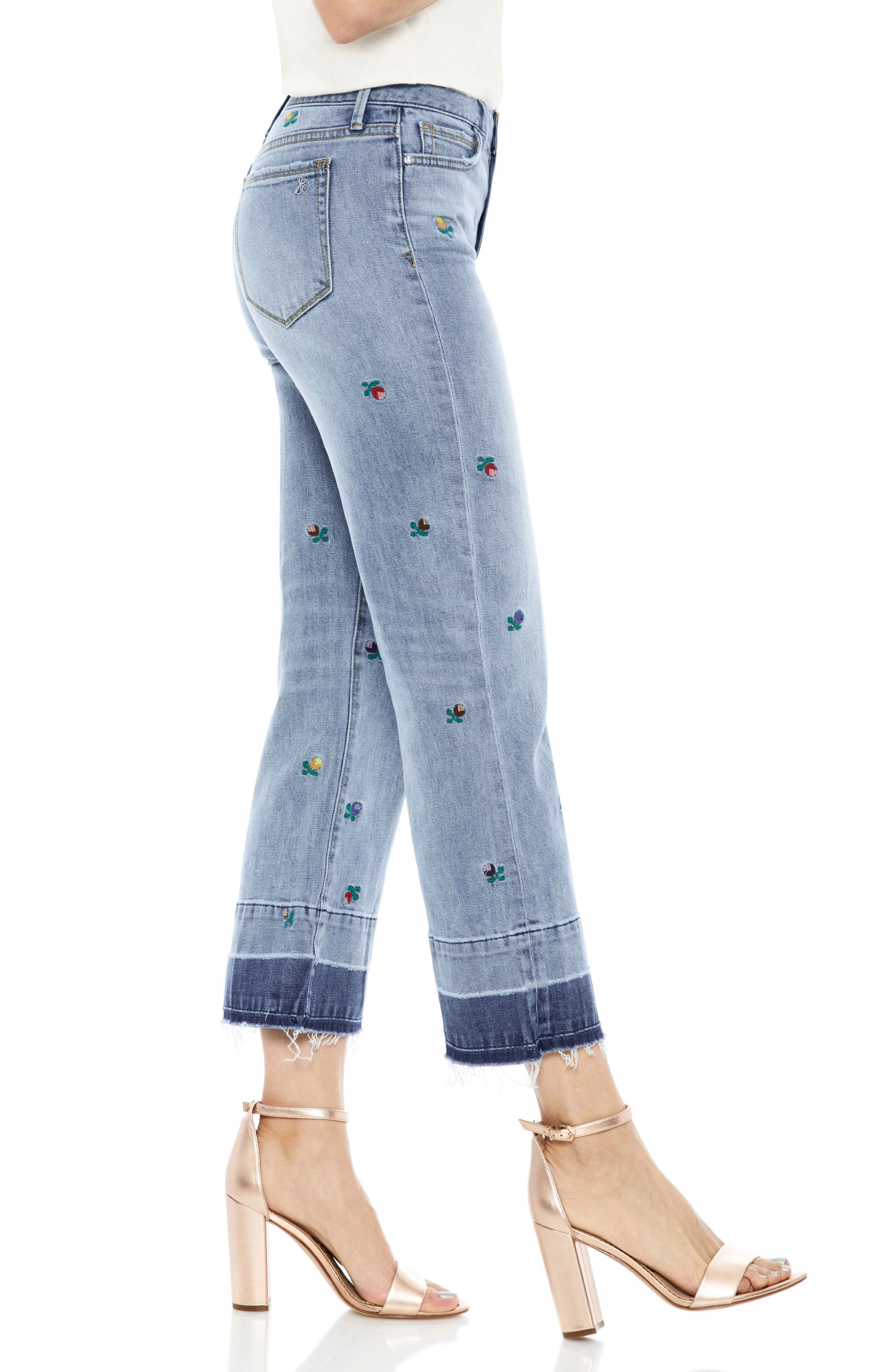 The Chelsea Embroidered Release Hem Wide Leg Jeans,                             Alternate thumbnail 3, color,                             Fannie