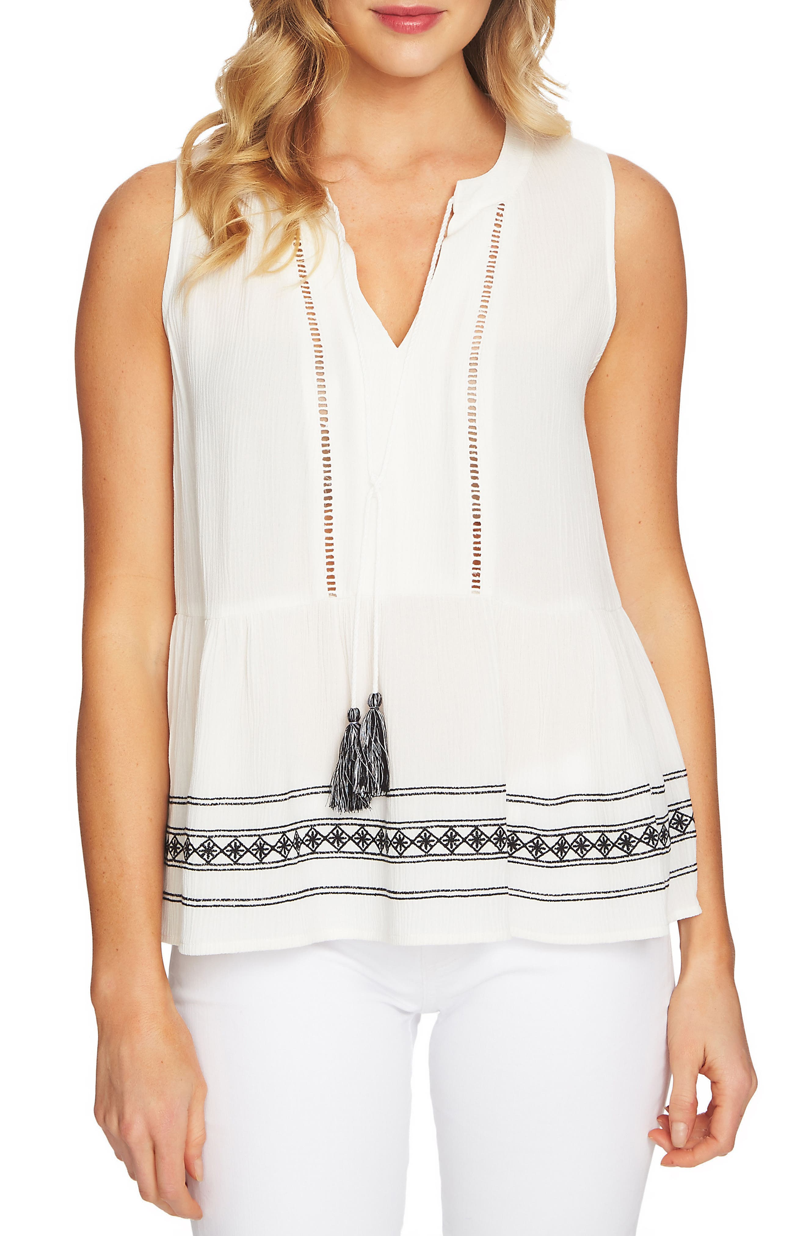 Sleeveless Embroidered Blouse,                         Main,                         color, New Ivory