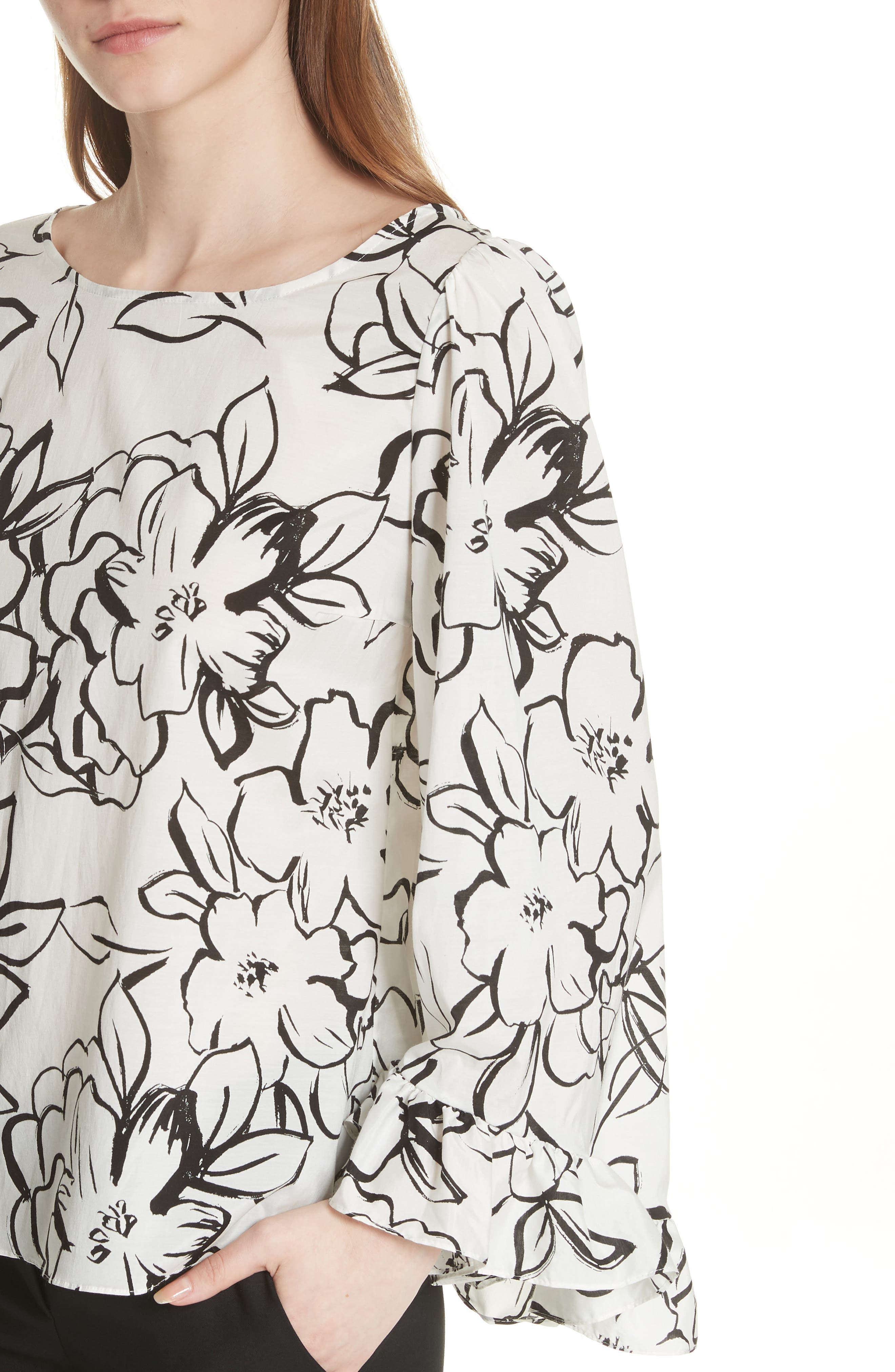 Flounced Floral Top,                             Alternate thumbnail 4, color,                             Neutral Floral