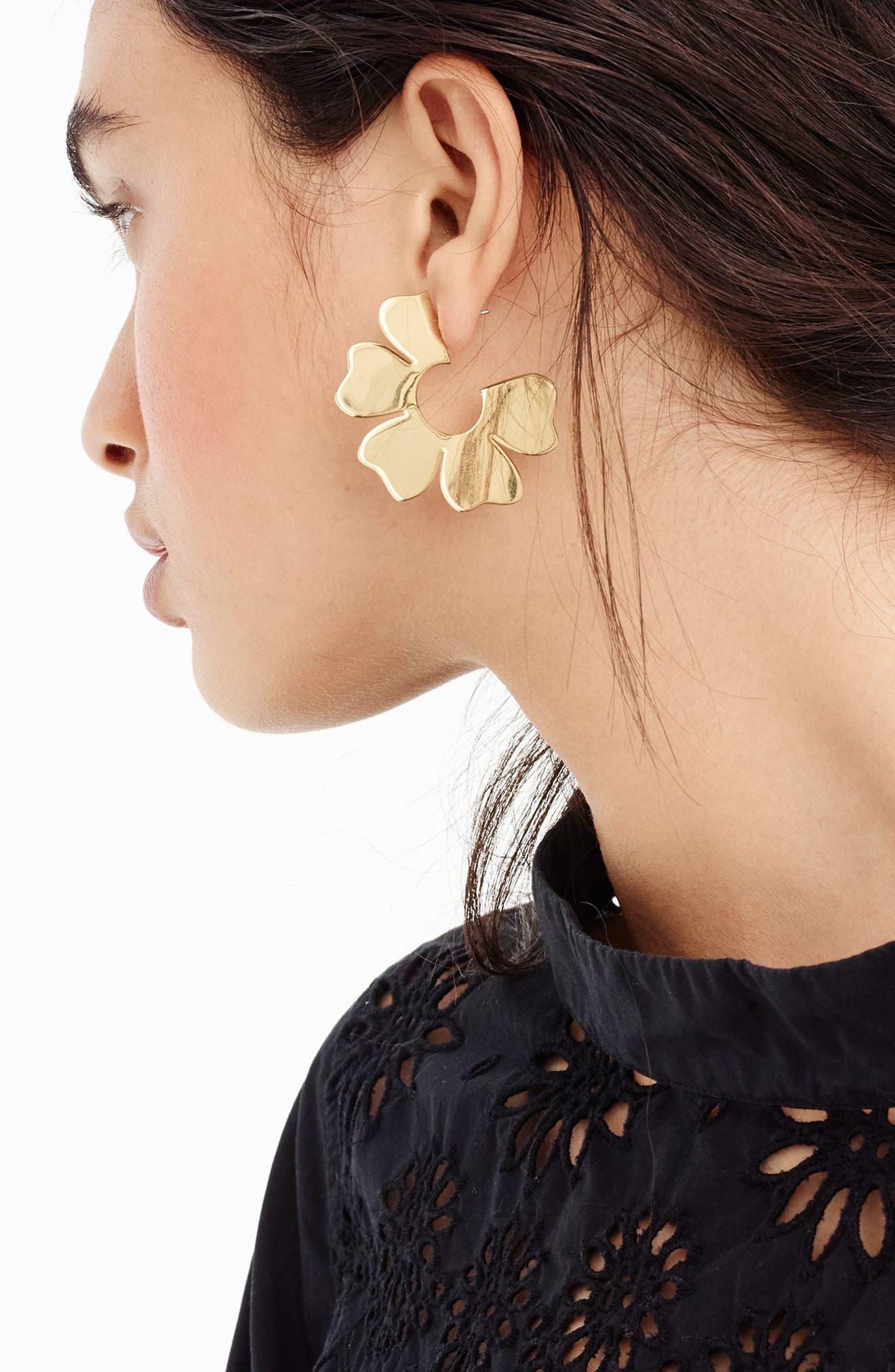 J.Crew Flat Flower Hoop Earrings,                             Alternate thumbnail 2, color,