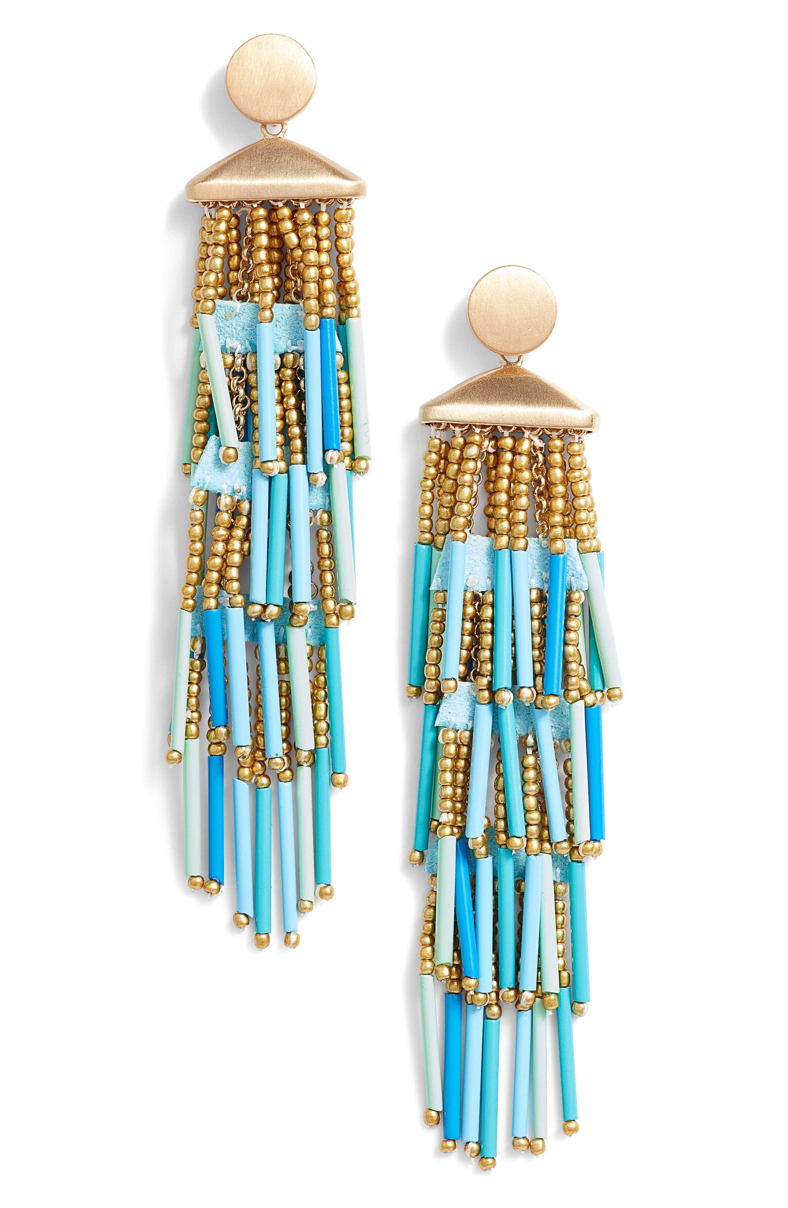 Beaded Fringe Drama Earrings,                         Main,                         color, Turquoise Multi