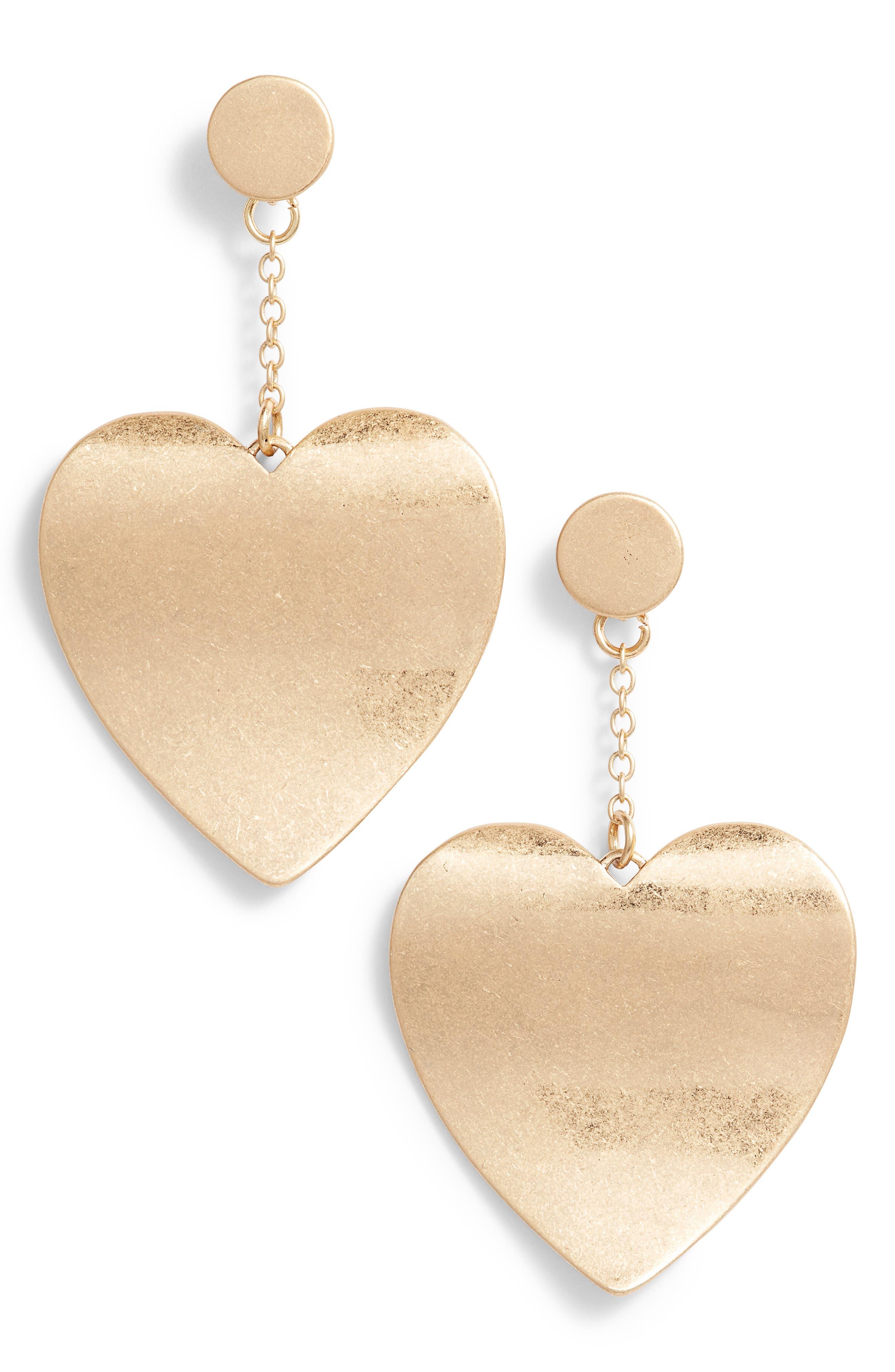 Sadie Heart Drop Earrings,                         Main,                         color, Gold