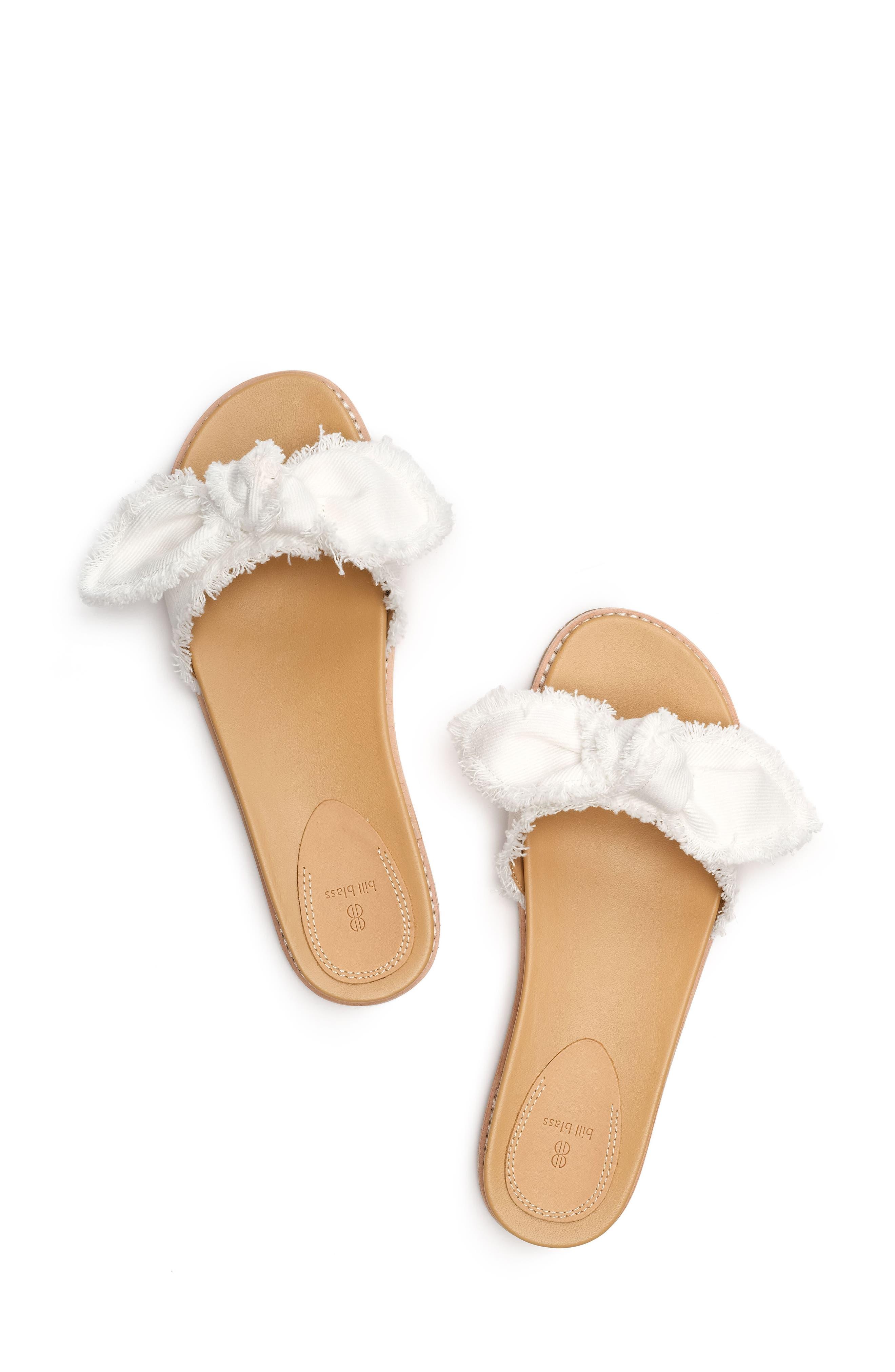 Carmela Slide Sandal,                             Alternate thumbnail 4, color,                             White Fabric