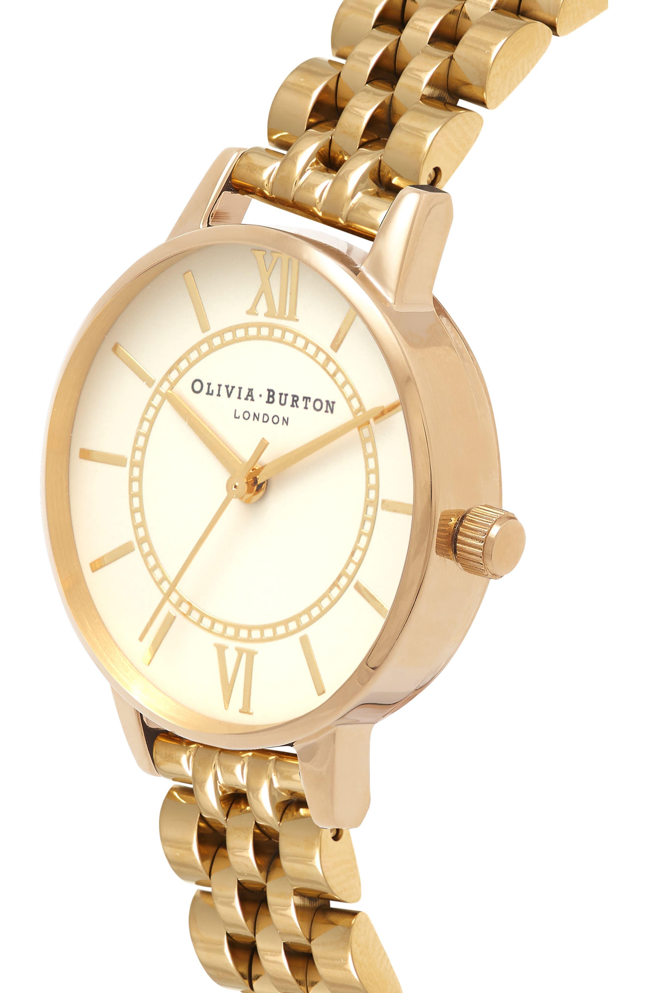 Wonderland Bracelet Watch, 30mm,                             Alternate thumbnail 3, color,                             Gold/ Nude/ Gold