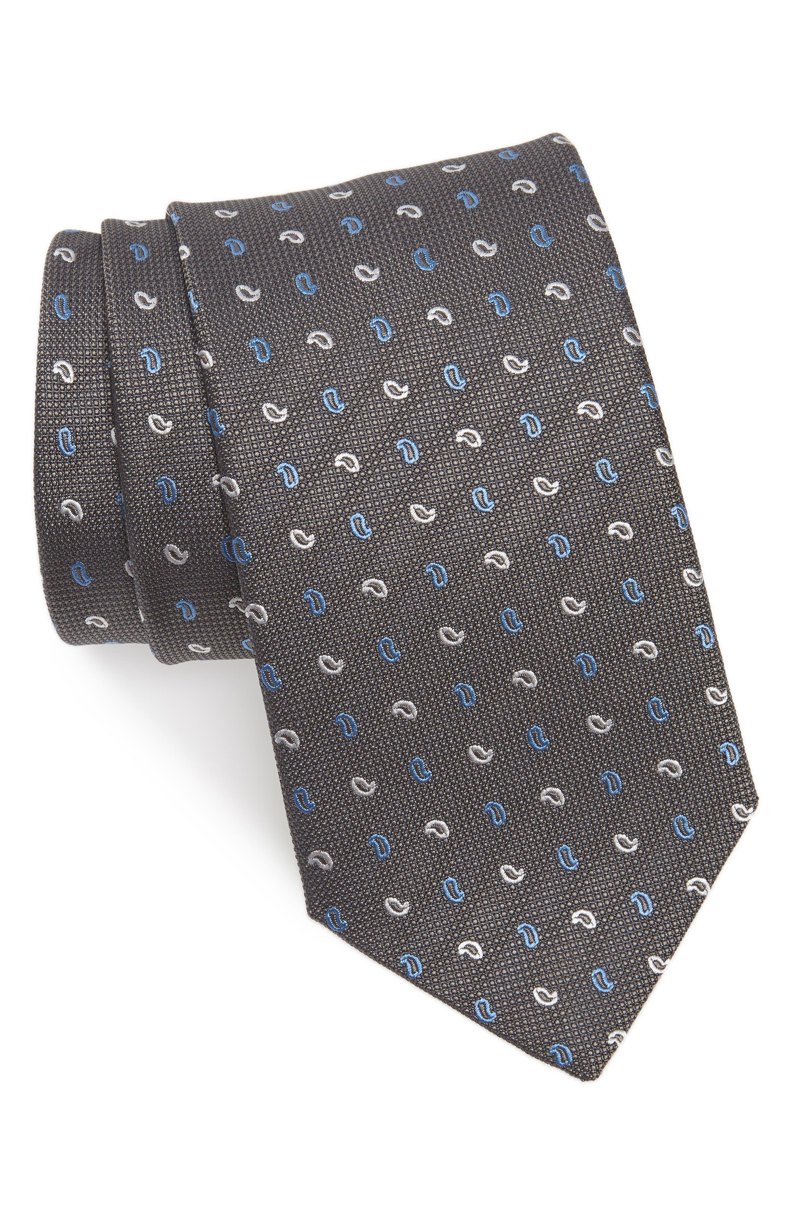 Main Image - David Donahue Paisley Silk Tie (X-Long)