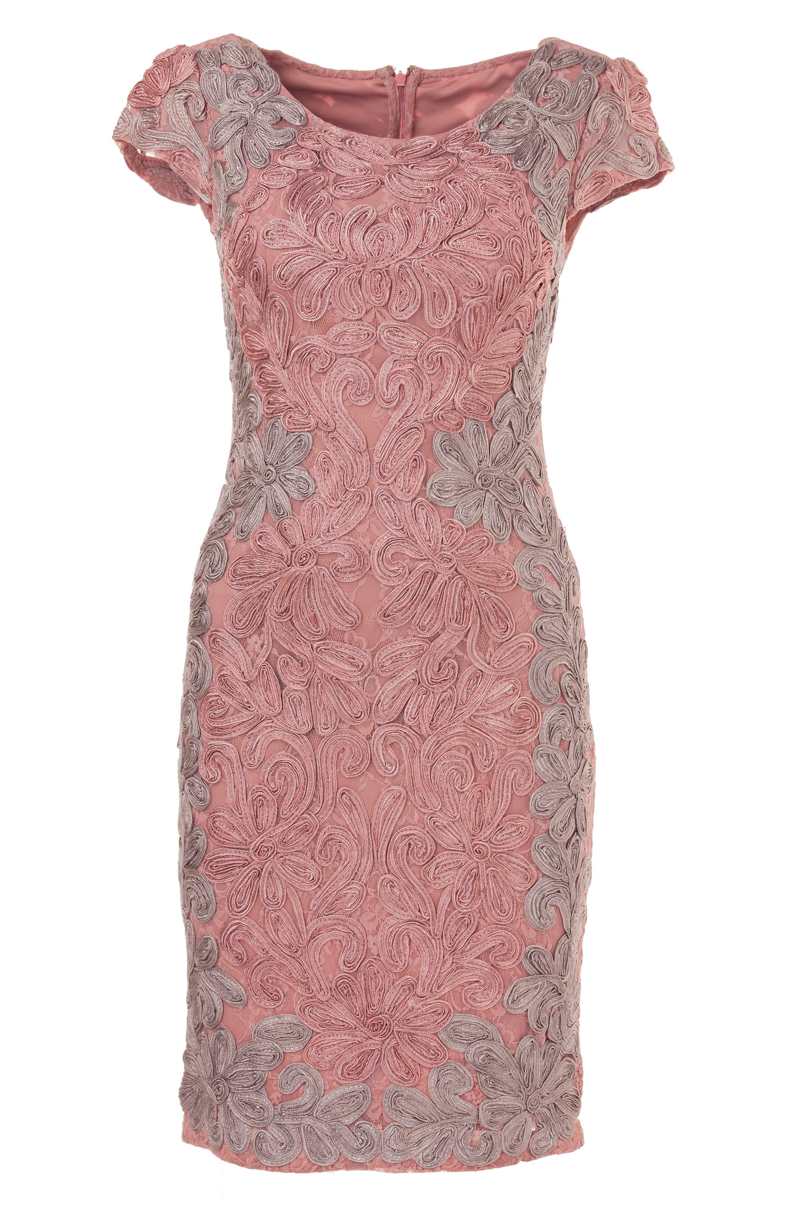 Contrast Soutache Sheath Dress,                             Alternate thumbnail 4, color,                             Pink/ Taupe