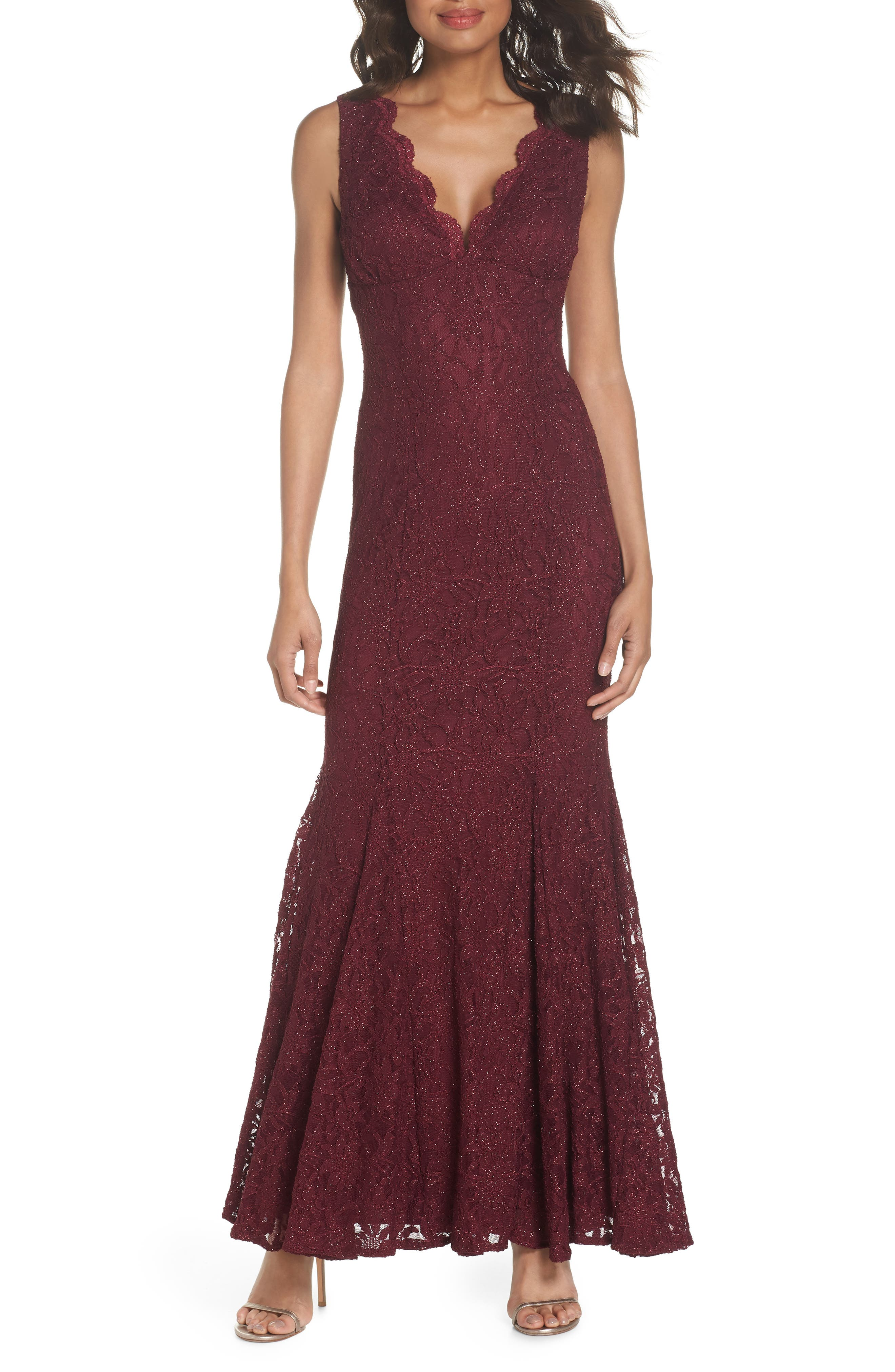 Glitter Lace Gown,                         Main,                         color, Merlot