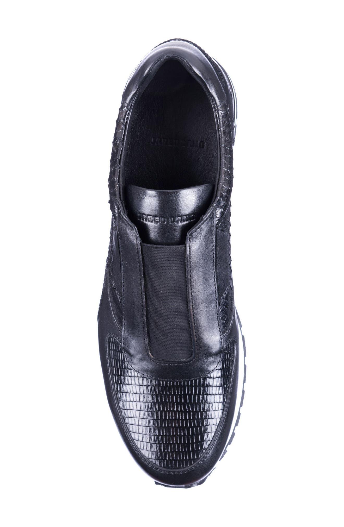 Barrett Embossed Slip-On Sneaker,                             Alternate thumbnail 5, color,                             Black Leather