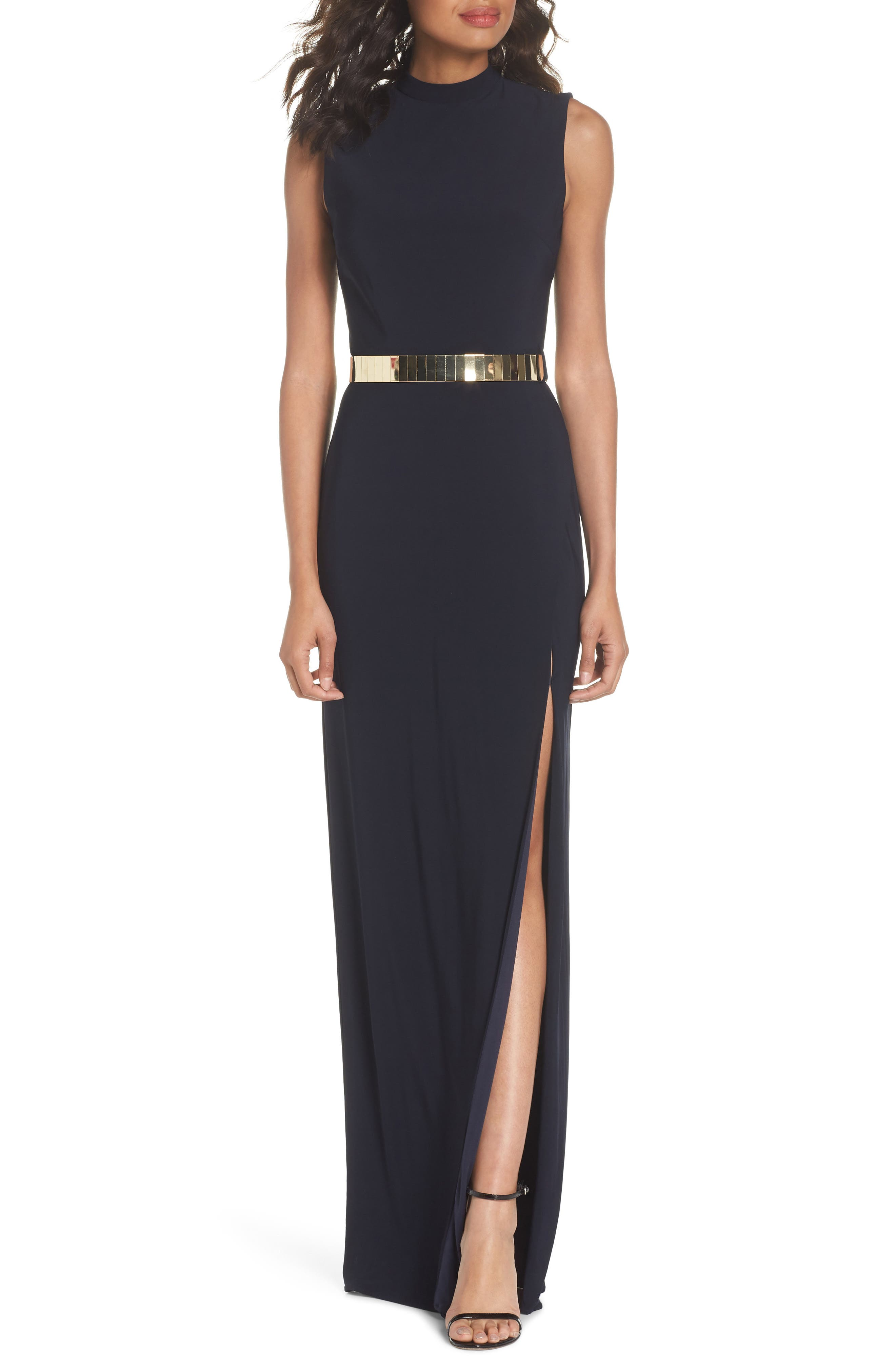Belted Mock Neck Sheath Gown,                             Main thumbnail 1, color,                             Midnight