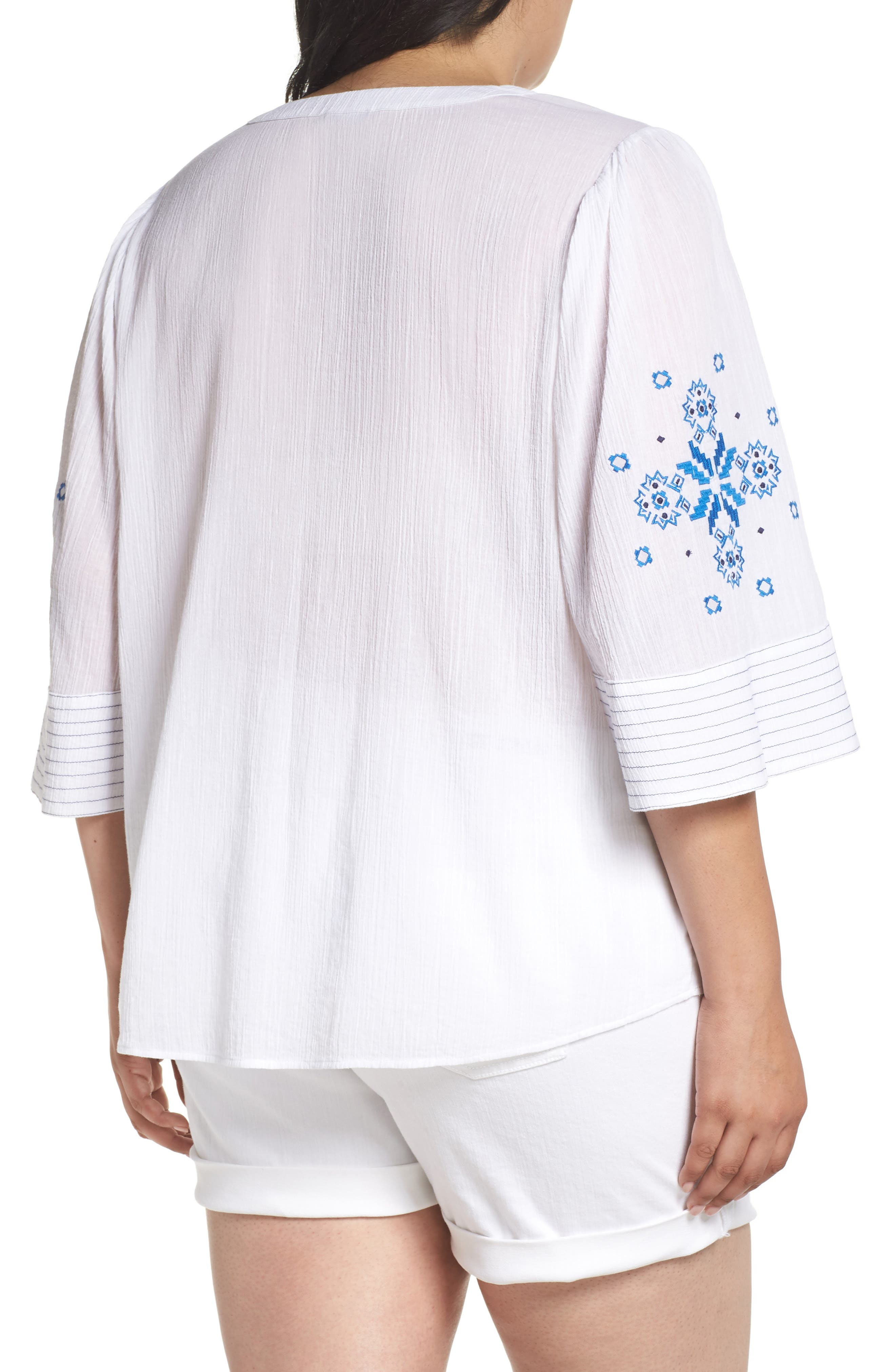 Bell Sleeve Embroidered Top,                             Alternate thumbnail 2, color,                             Ultra White