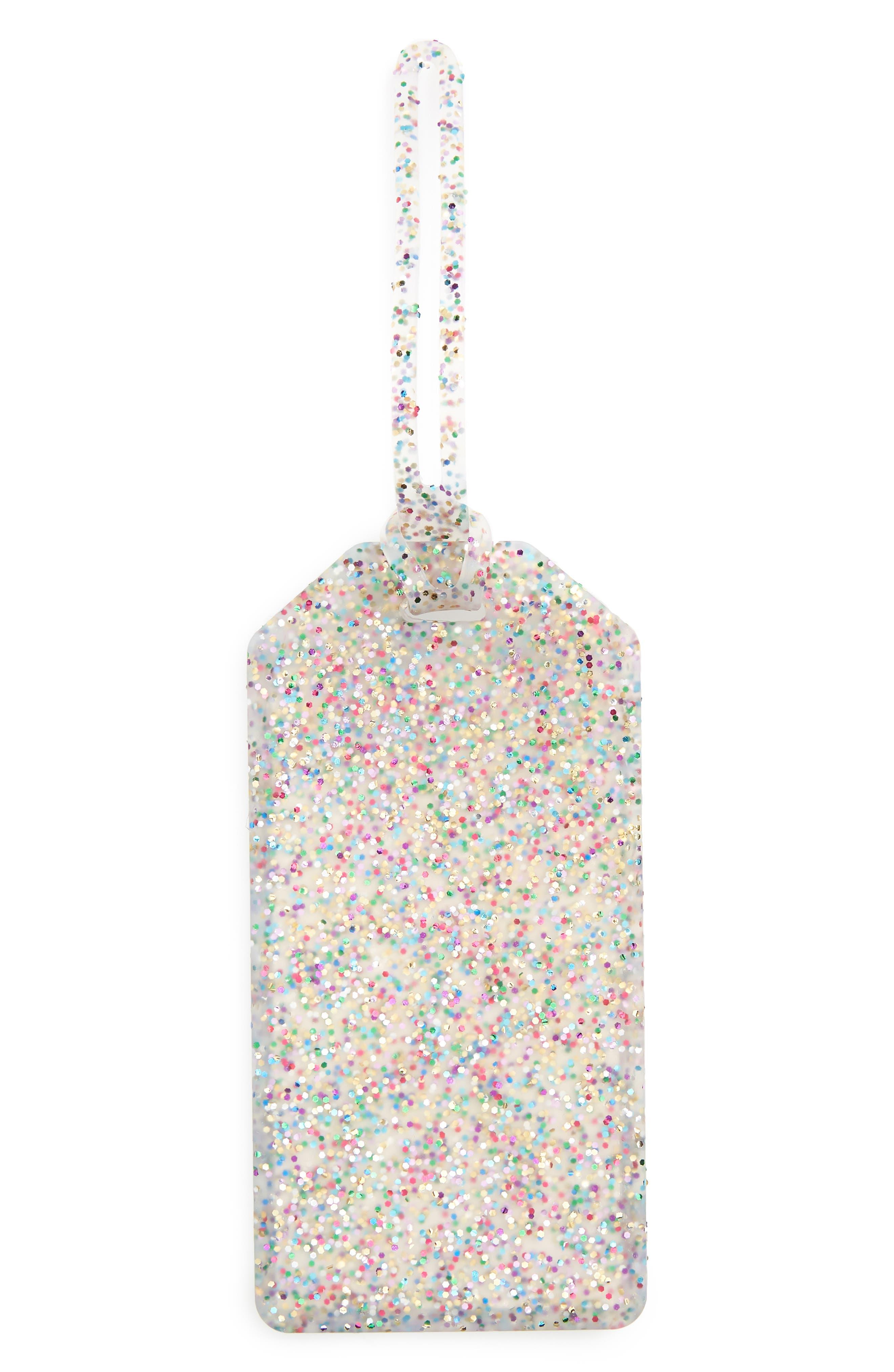 glitter luggage tag,                         Main,                         color, Multi