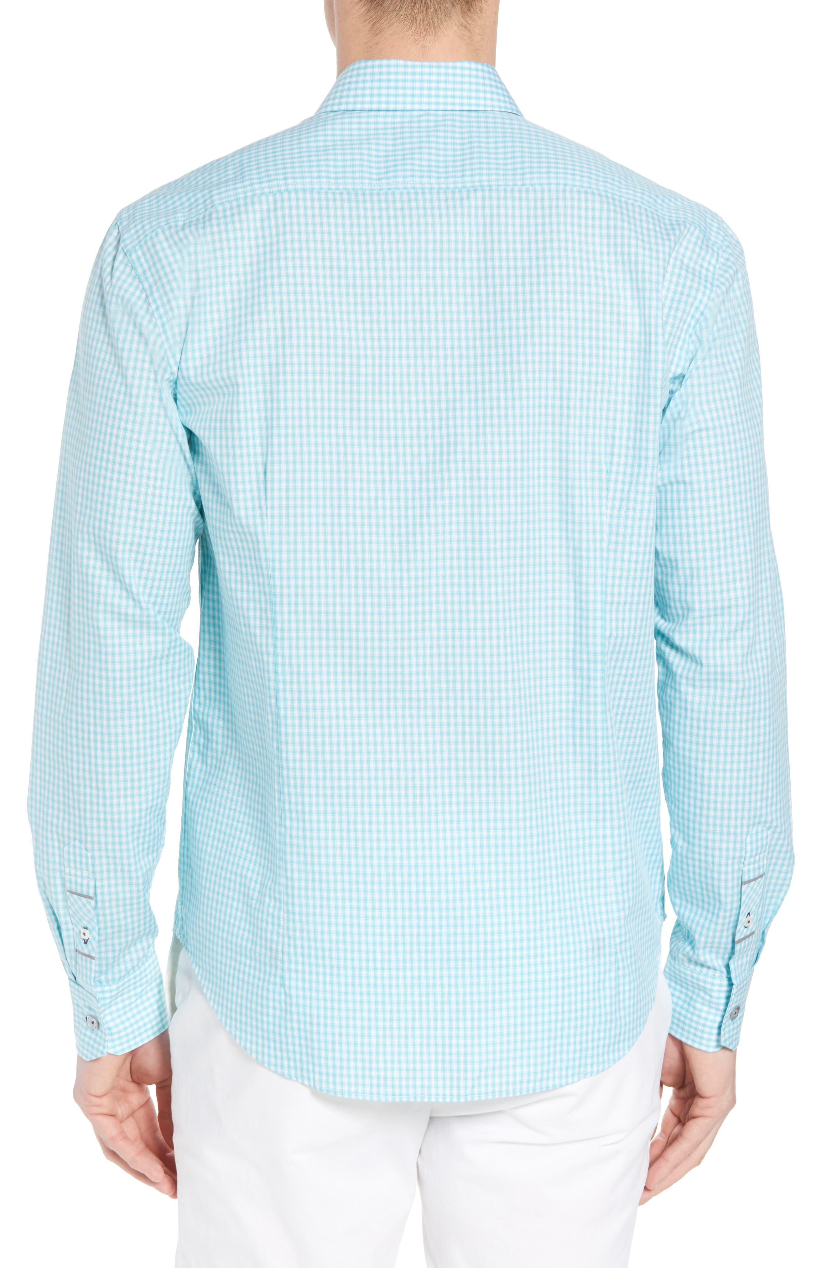 Comfort Fit Check Sport Shirt,                             Alternate thumbnail 3, color,                             Turquoise