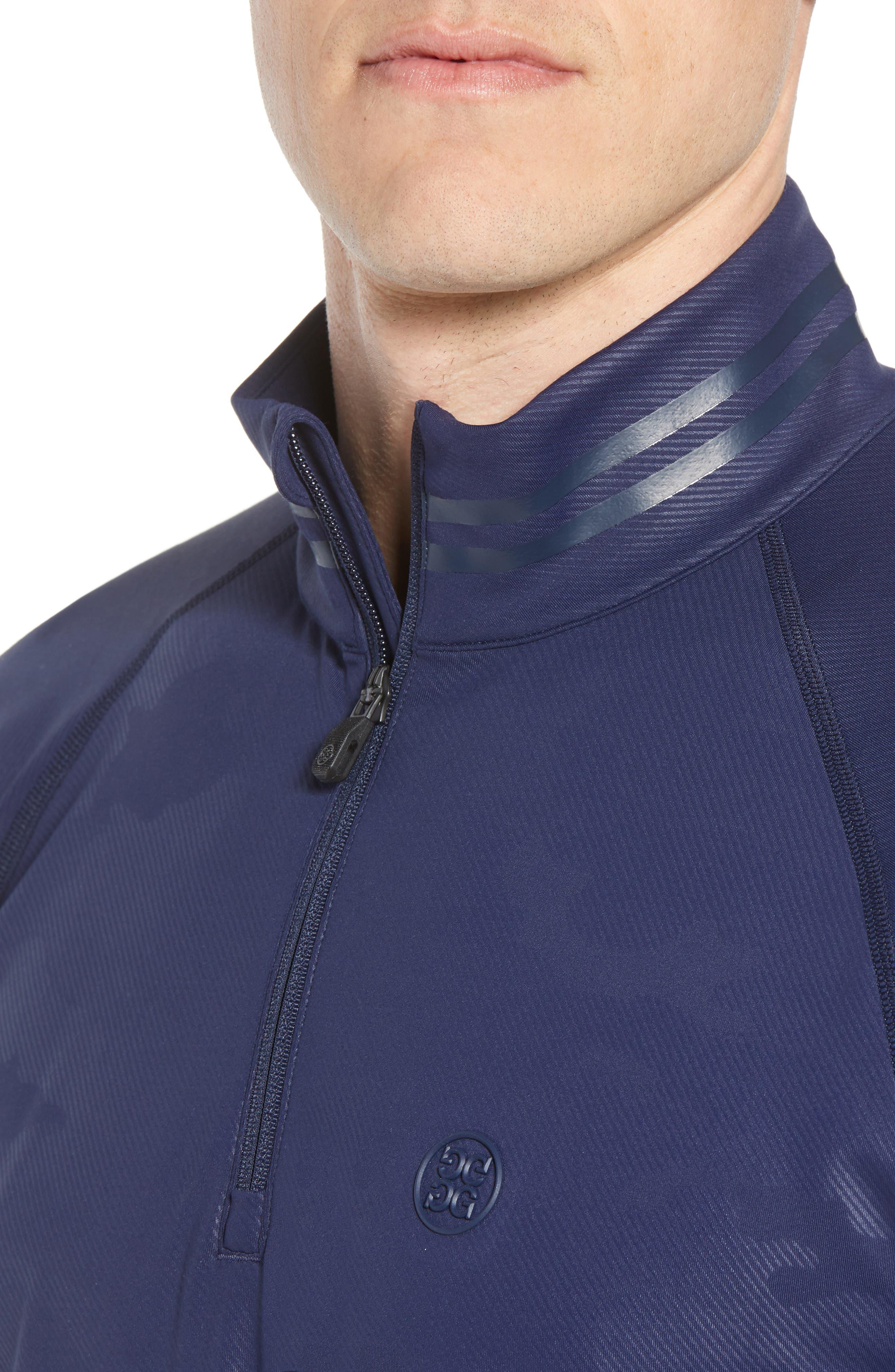 Camo Regular Fit Quarter-Zip Pullover,                             Alternate thumbnail 4, color,                             Twilight