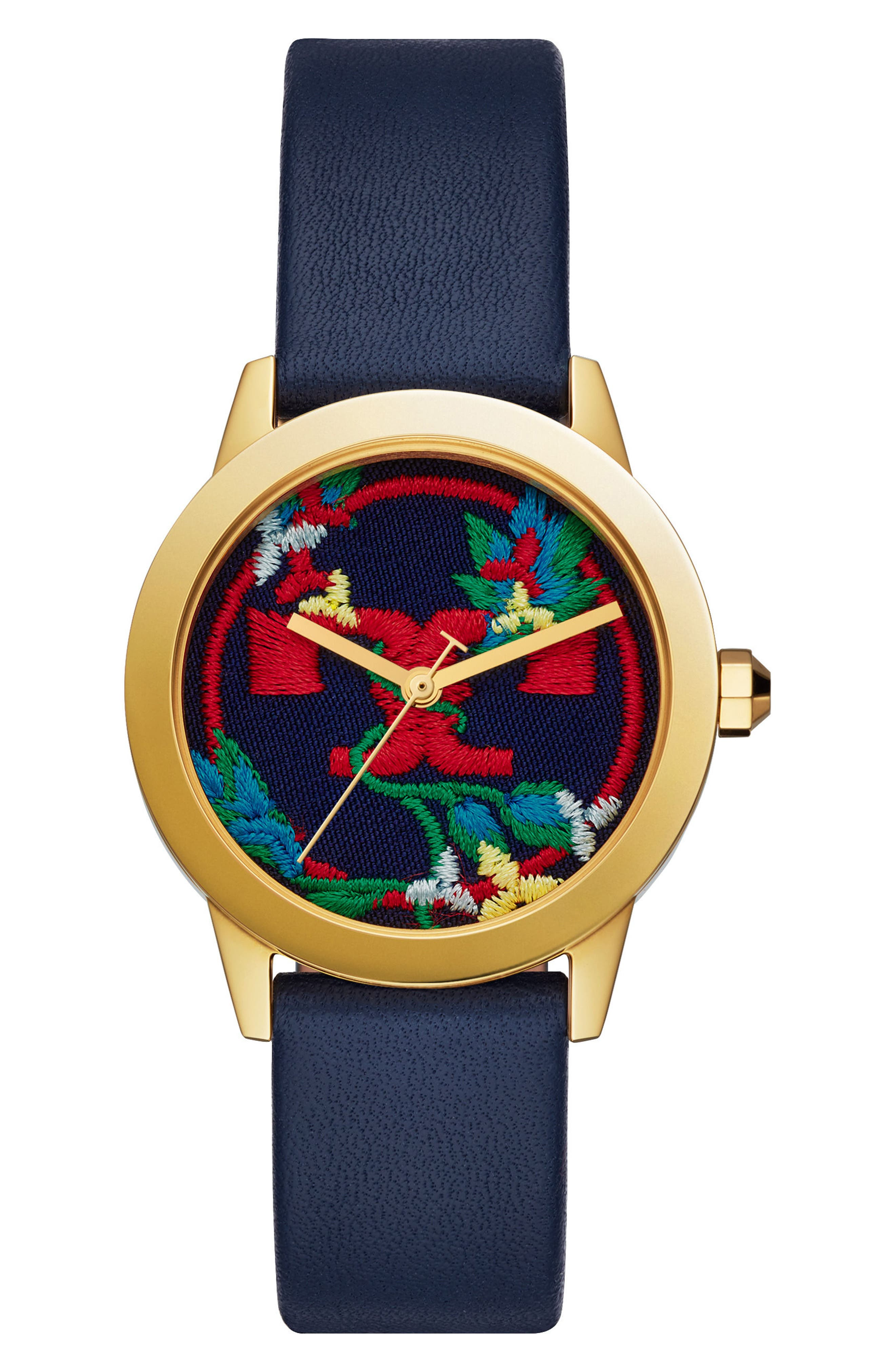 Gigi Leather Strap Watch, 36mm,                         Main,                         color, Navy/ Gold