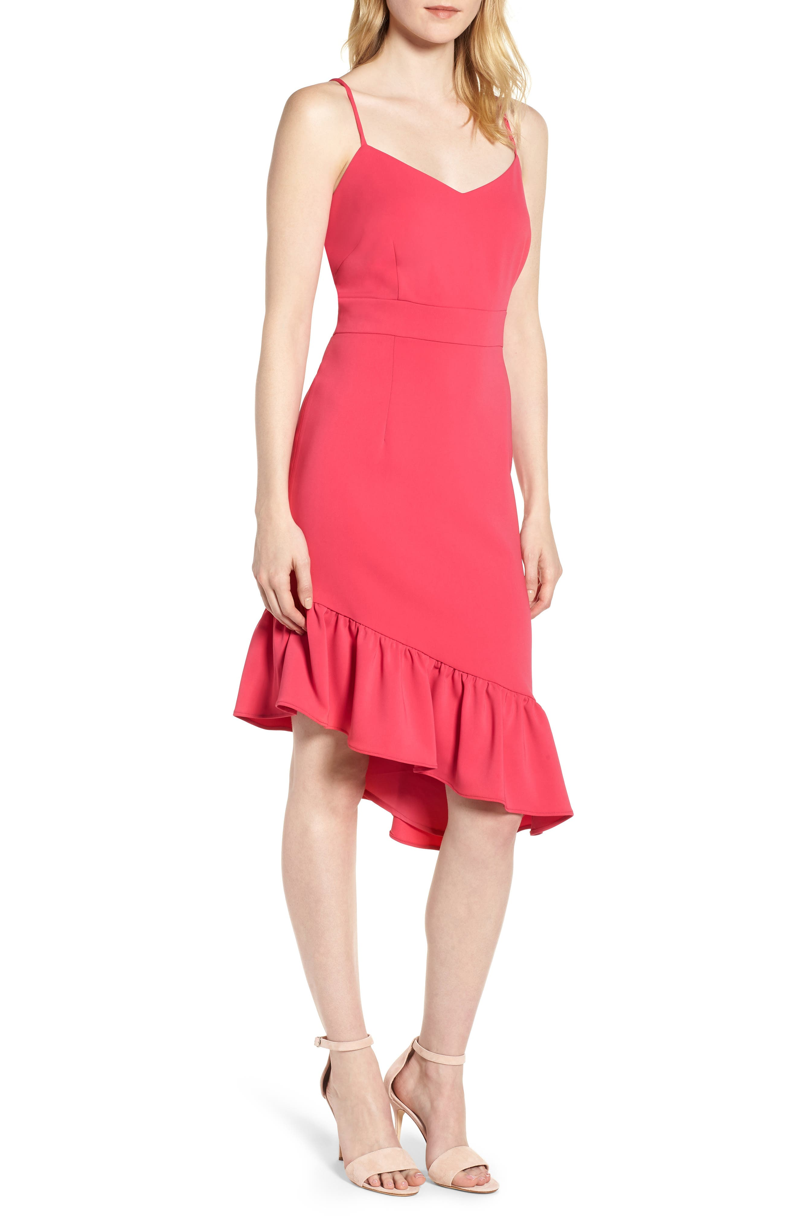 Asymmetric Ruffle Hem Dress,                             Main thumbnail 1, color,                             Pink Bright