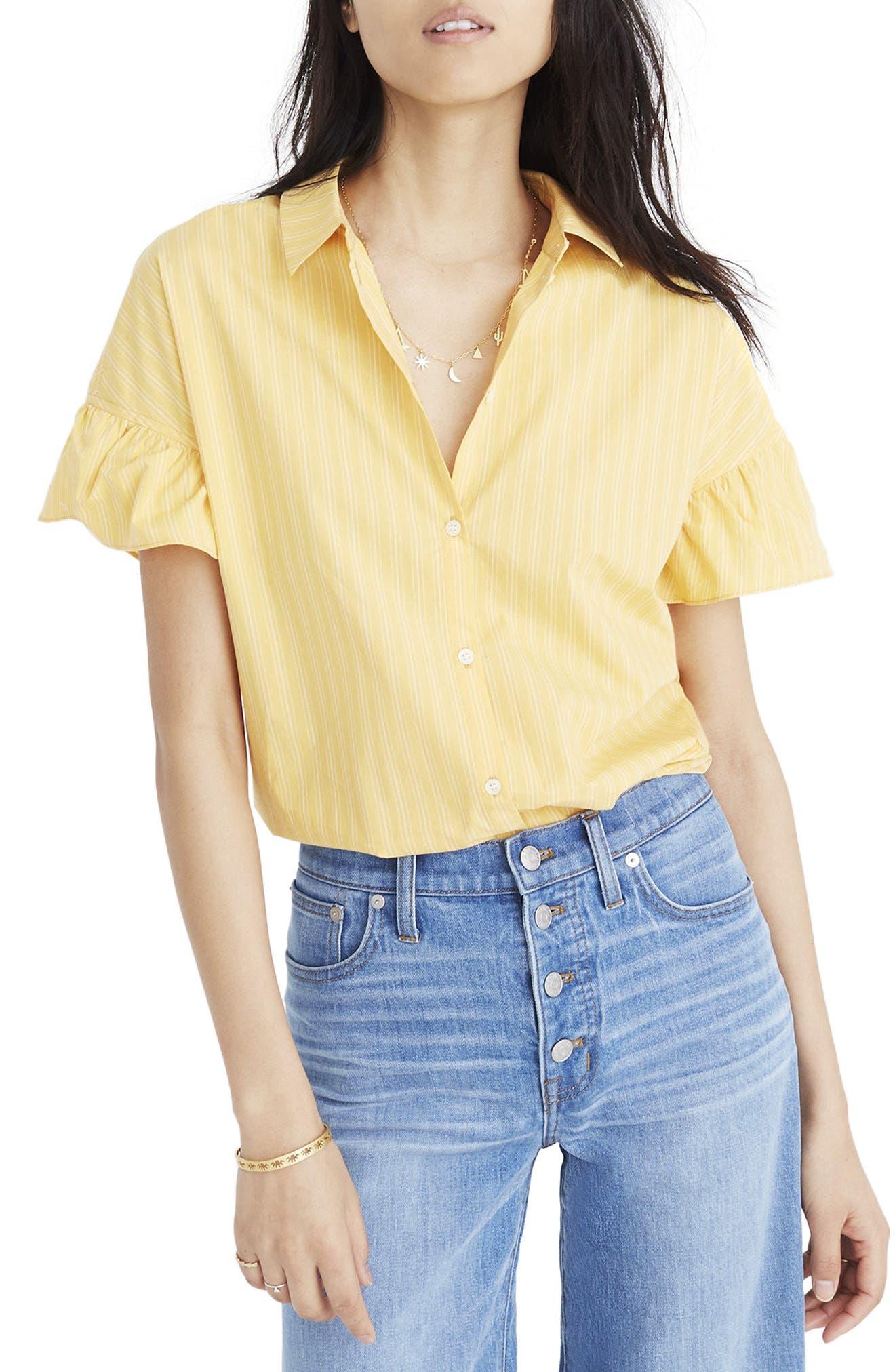 Central Stripe Ruffle Sleeve Shirt,                             Main thumbnail 1, color,                             Golden Daffodil