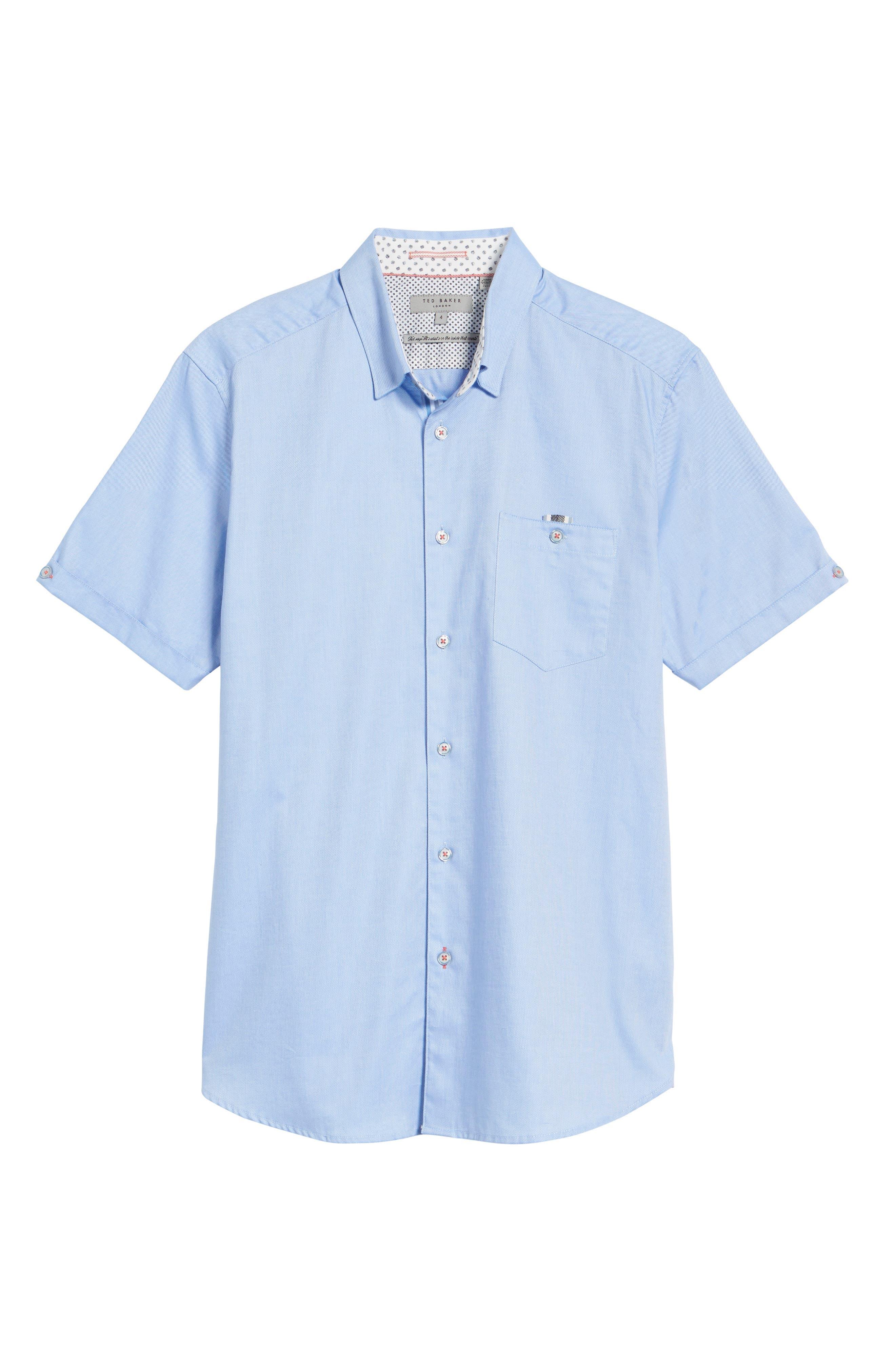 Wallott Extra Slim Fit Short Sleeve Sport Shirt,                             Alternate thumbnail 6, color,                             Blue
