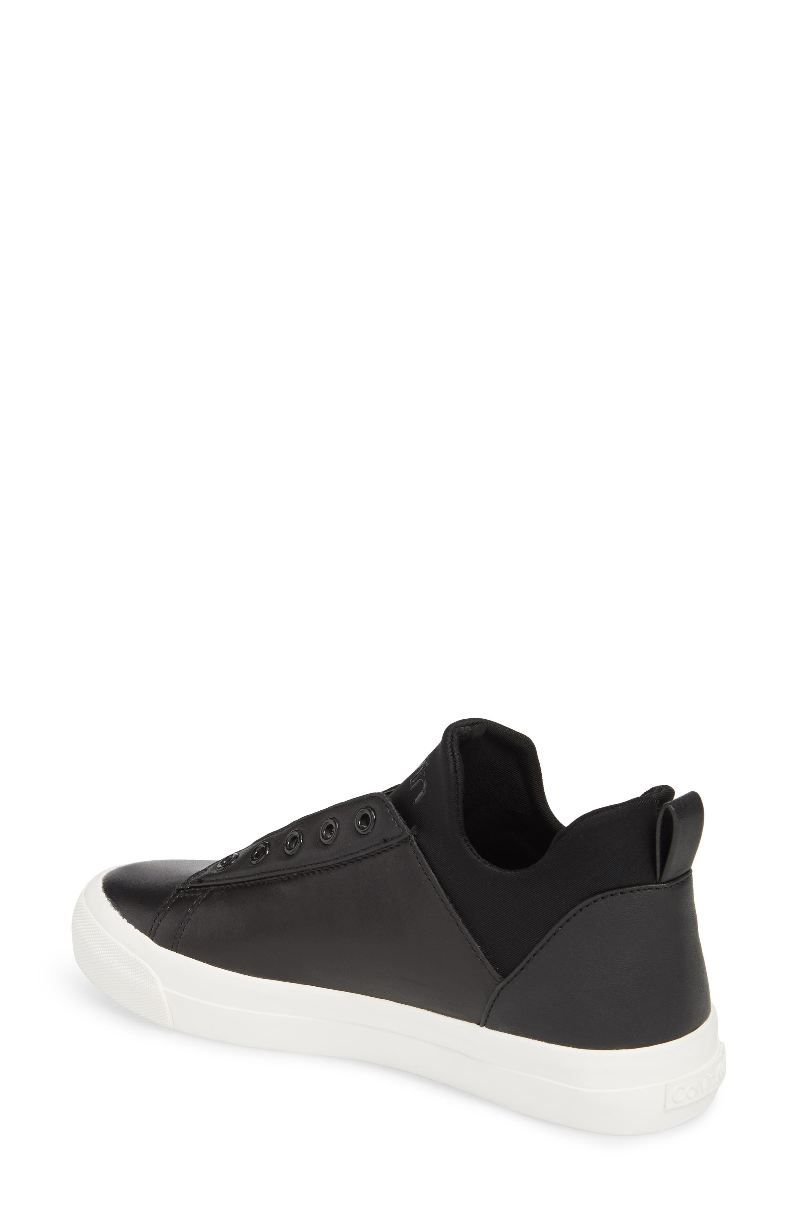 Valorie Mid Top Sneaker,                             Alternate thumbnail 2, color,                             Black Leather