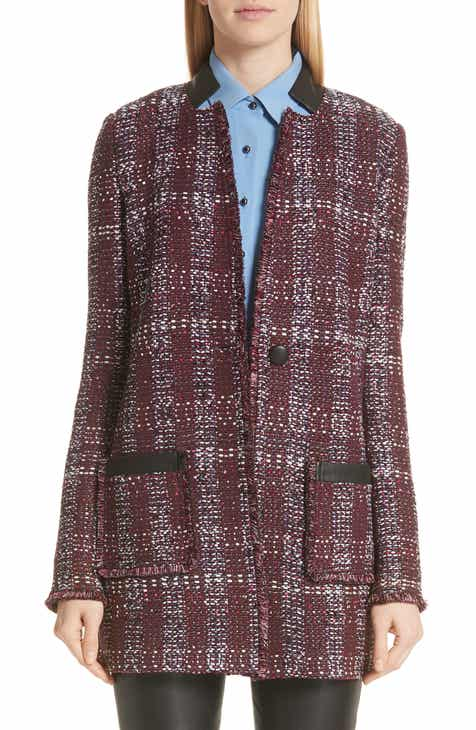 7d374ed37afc St. John Collection Flecked Textures Plaid Knit Jacket