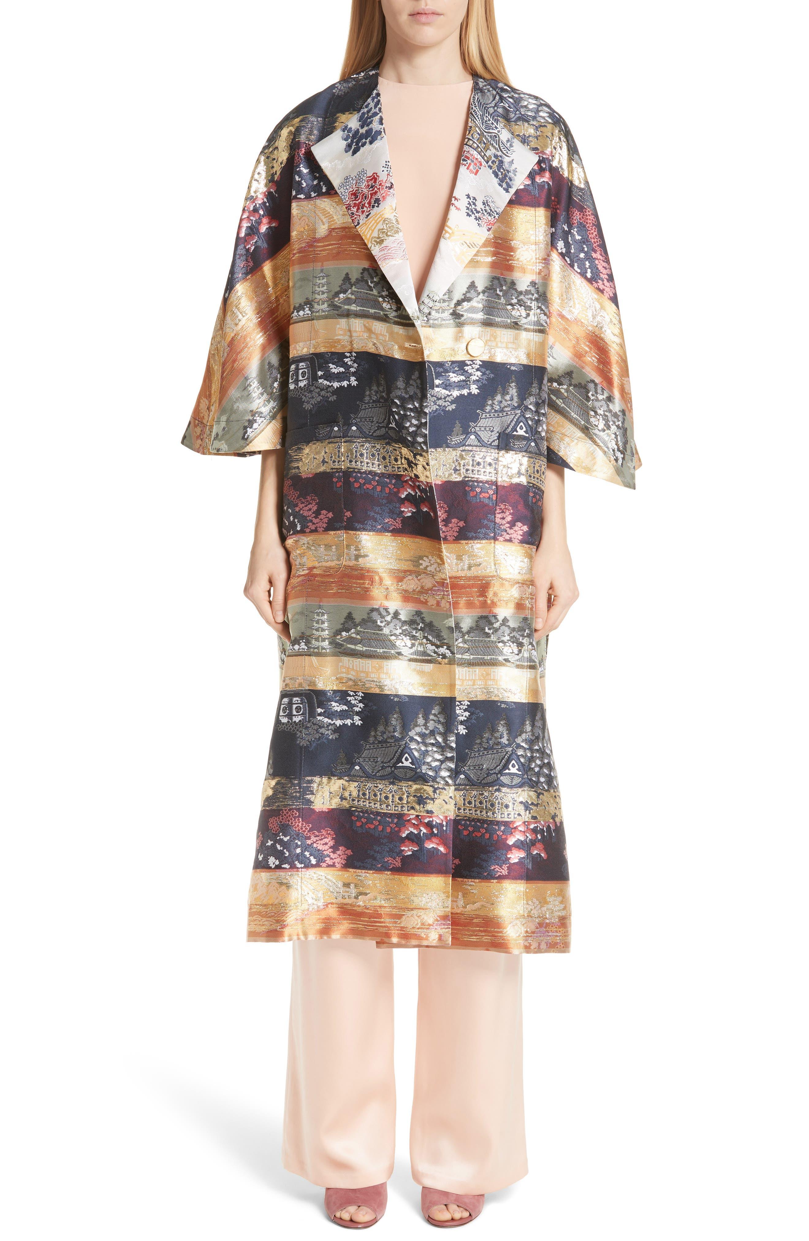 Reversible Silk Lamé Jacquard Coat,                             Main thumbnail 1, color,                             Navy/ Ivory