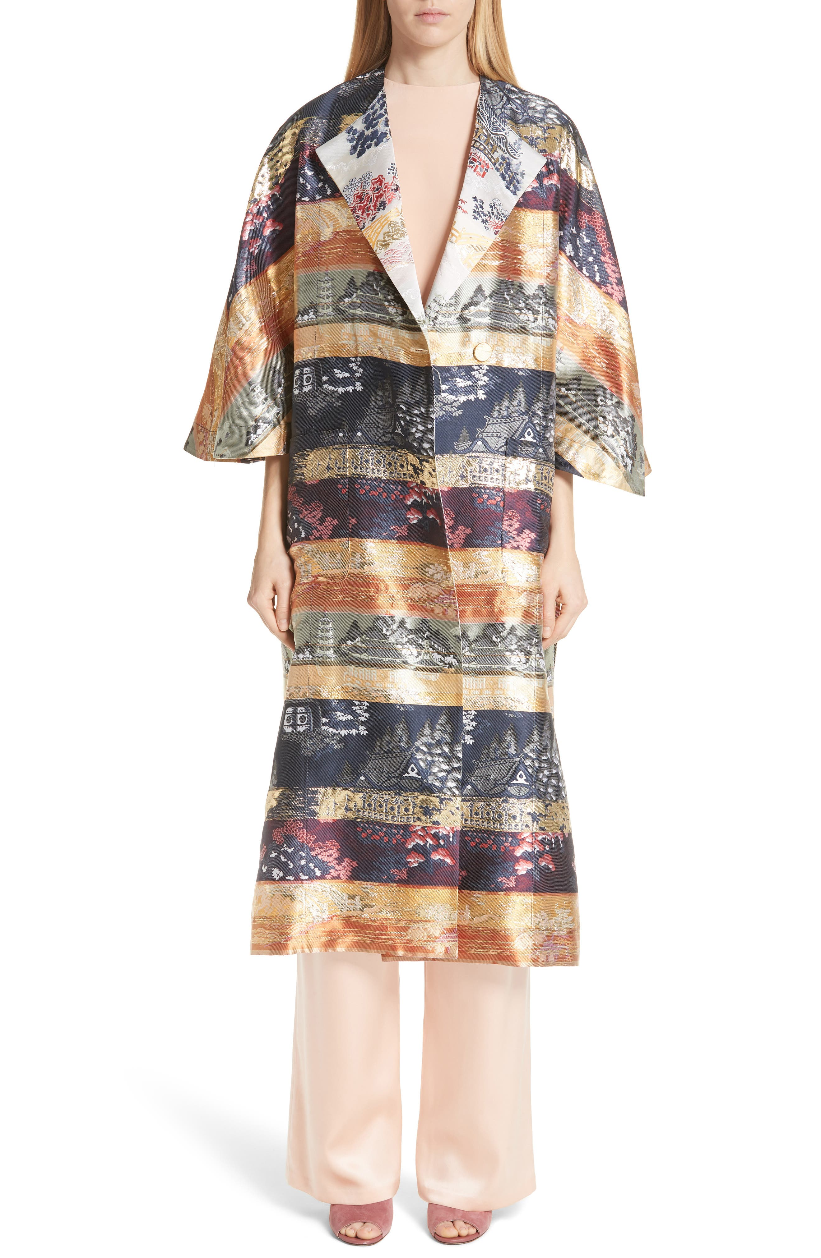 Reversible Silk Lamé Jacquard Coat,                         Main,                         color, Navy/ Ivory