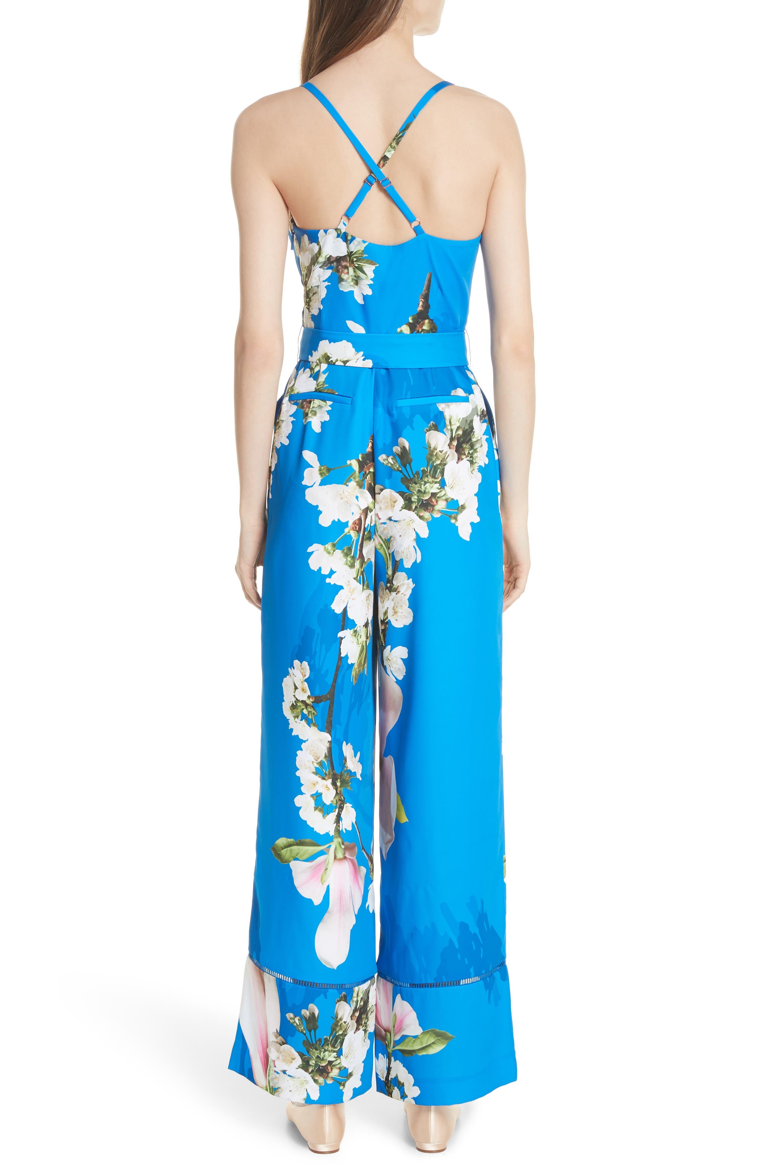 Harmony Wrap Front Floral Jumpsuit,                             Alternate thumbnail 2, color,                             Bright Blue