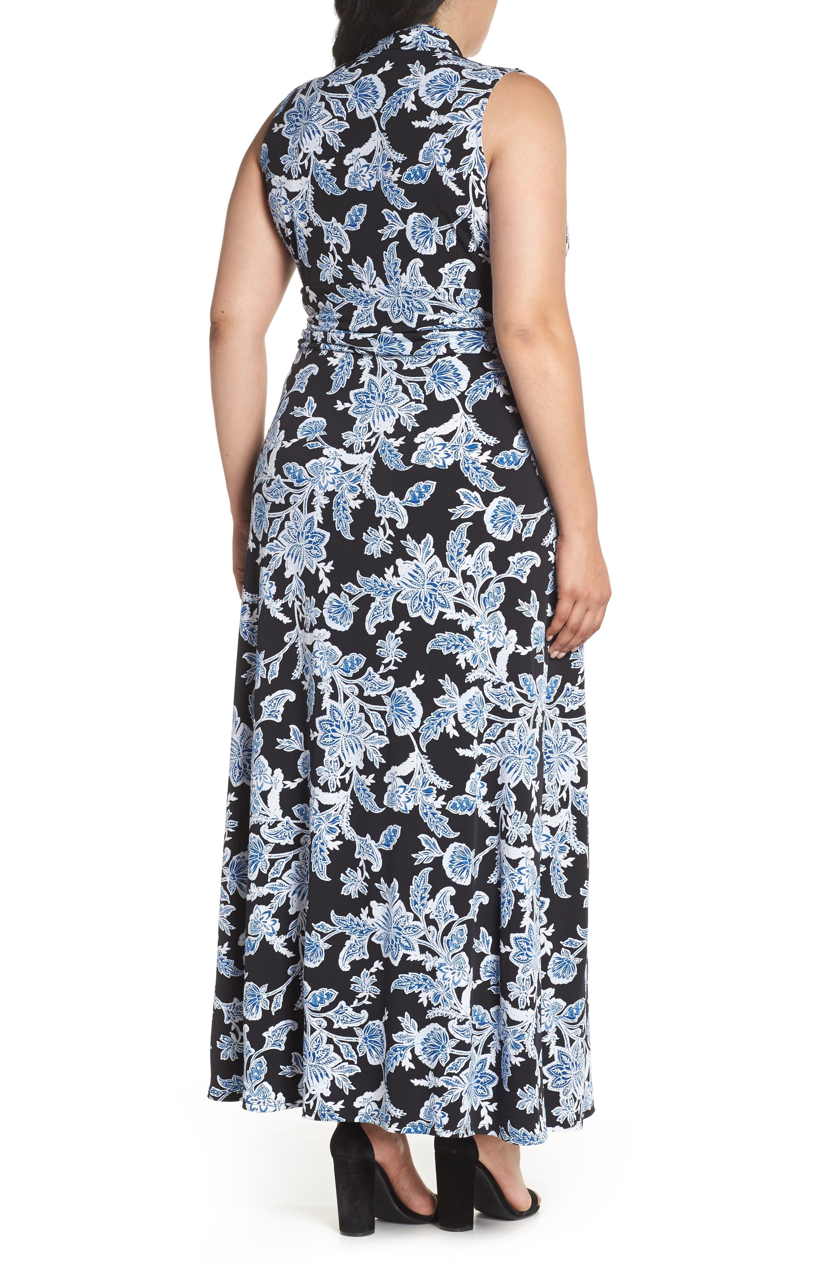 Woodblock Floral Maxi Dress,                             Alternate thumbnail 2, color,                             Rich Black