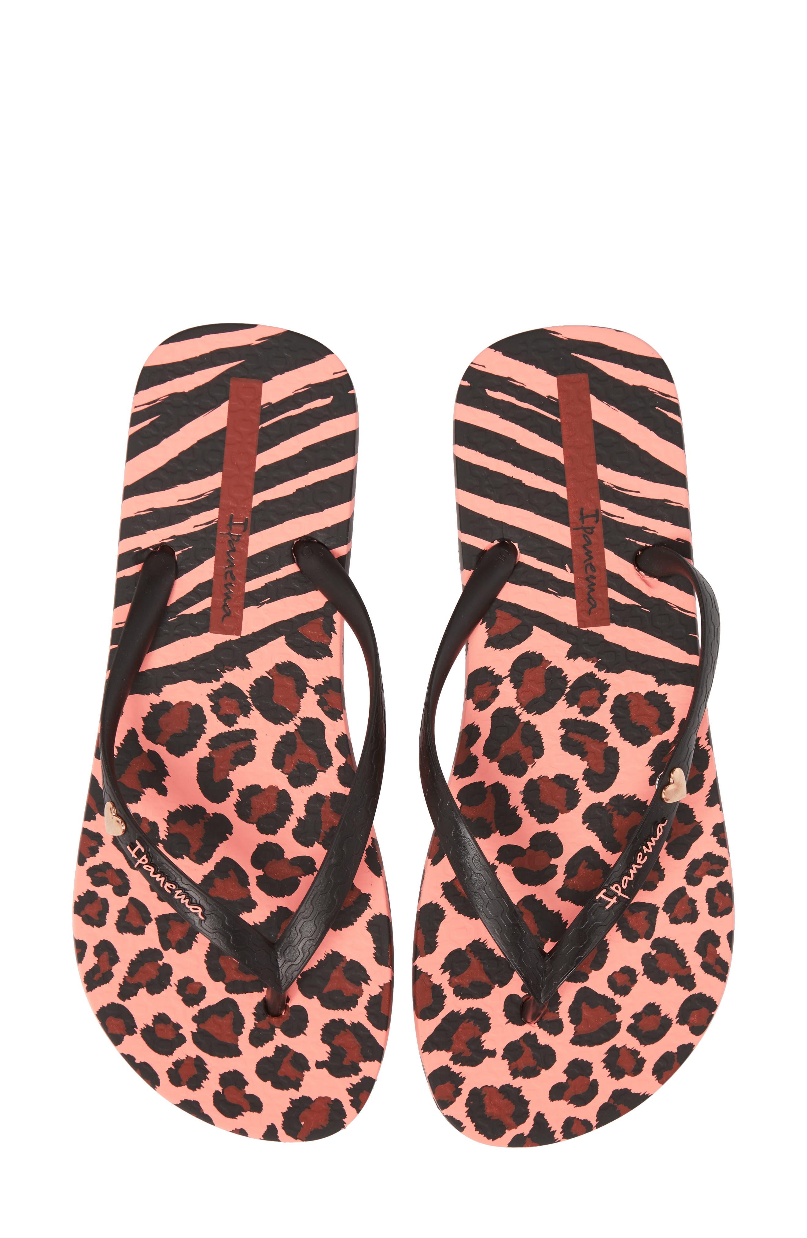 Wild Flip Flop,                             Main thumbnail 1, color,                             Pink/ Black