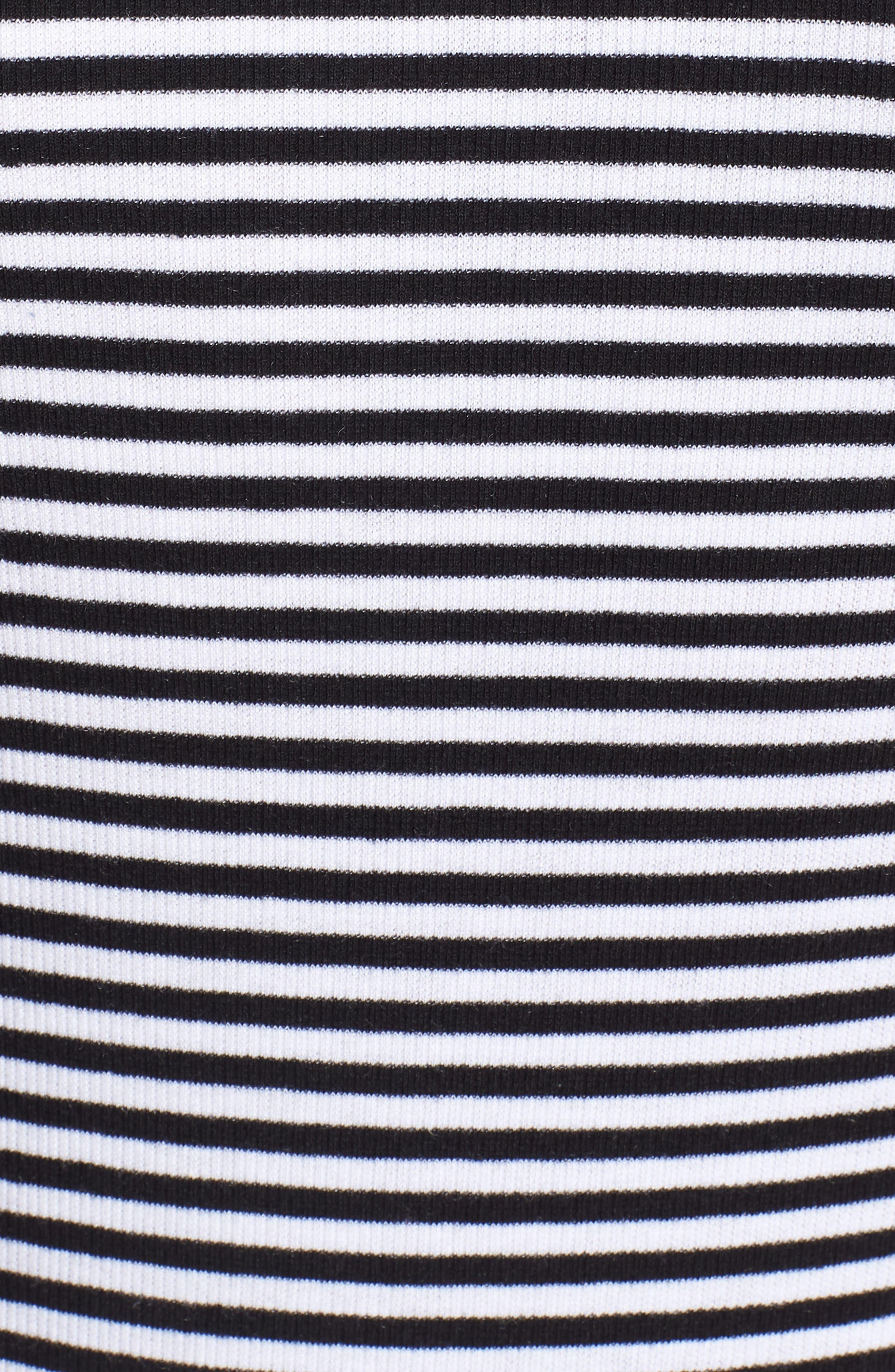 Stripe Cutout Dress,                             Alternate thumbnail 6, color,                             Black W White
