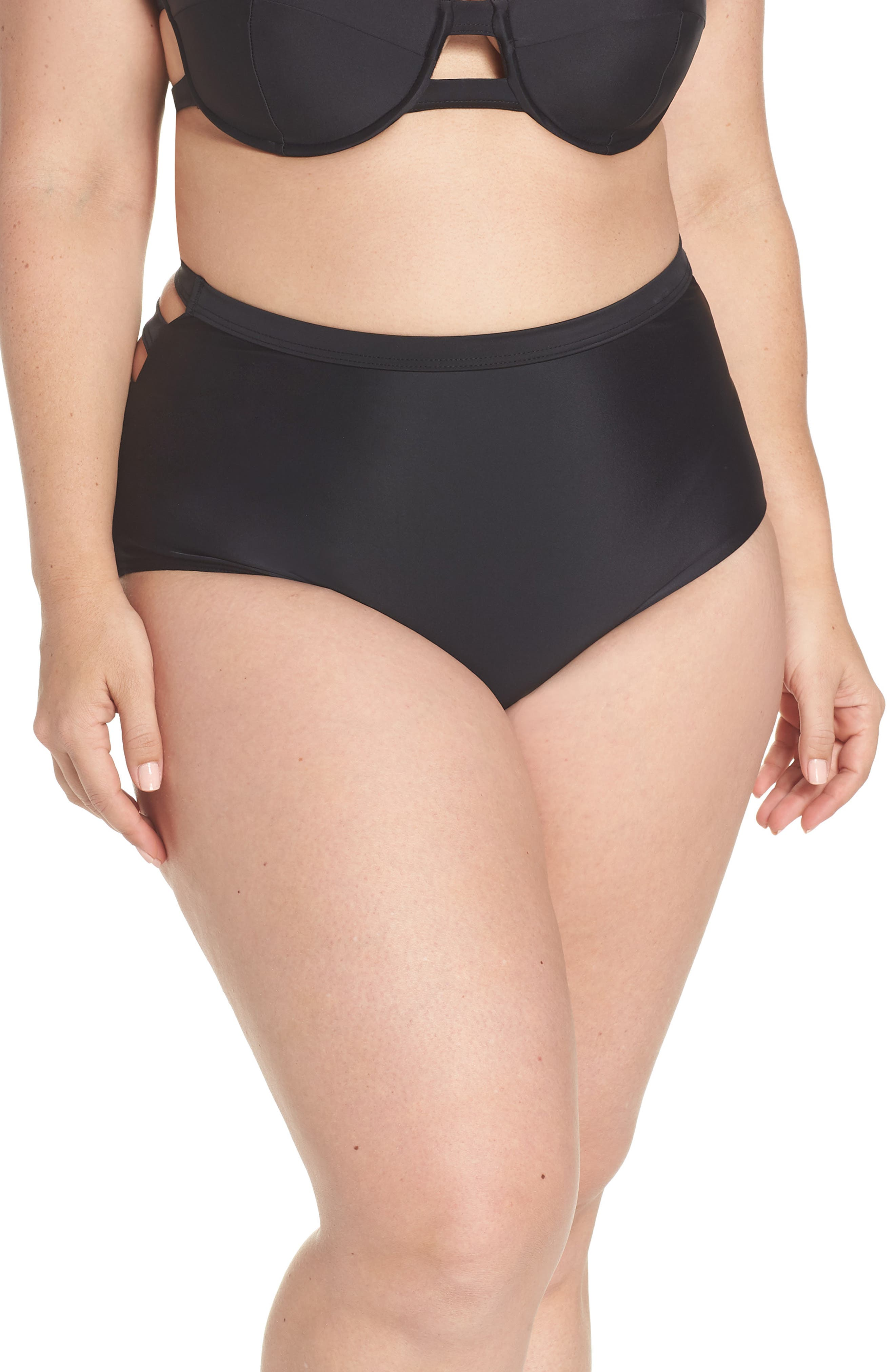 Bouloux II High Waist Bikini Bottoms,                             Alternate thumbnail 2, color,                             Black